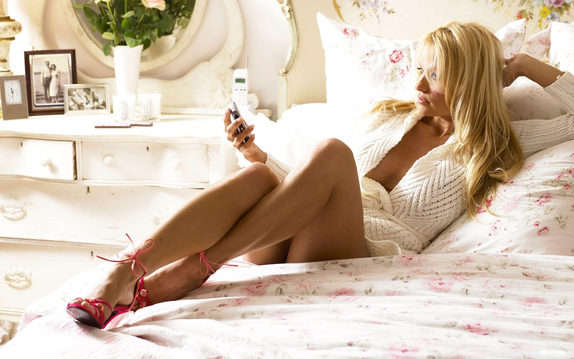 Girl On Phone On Bed