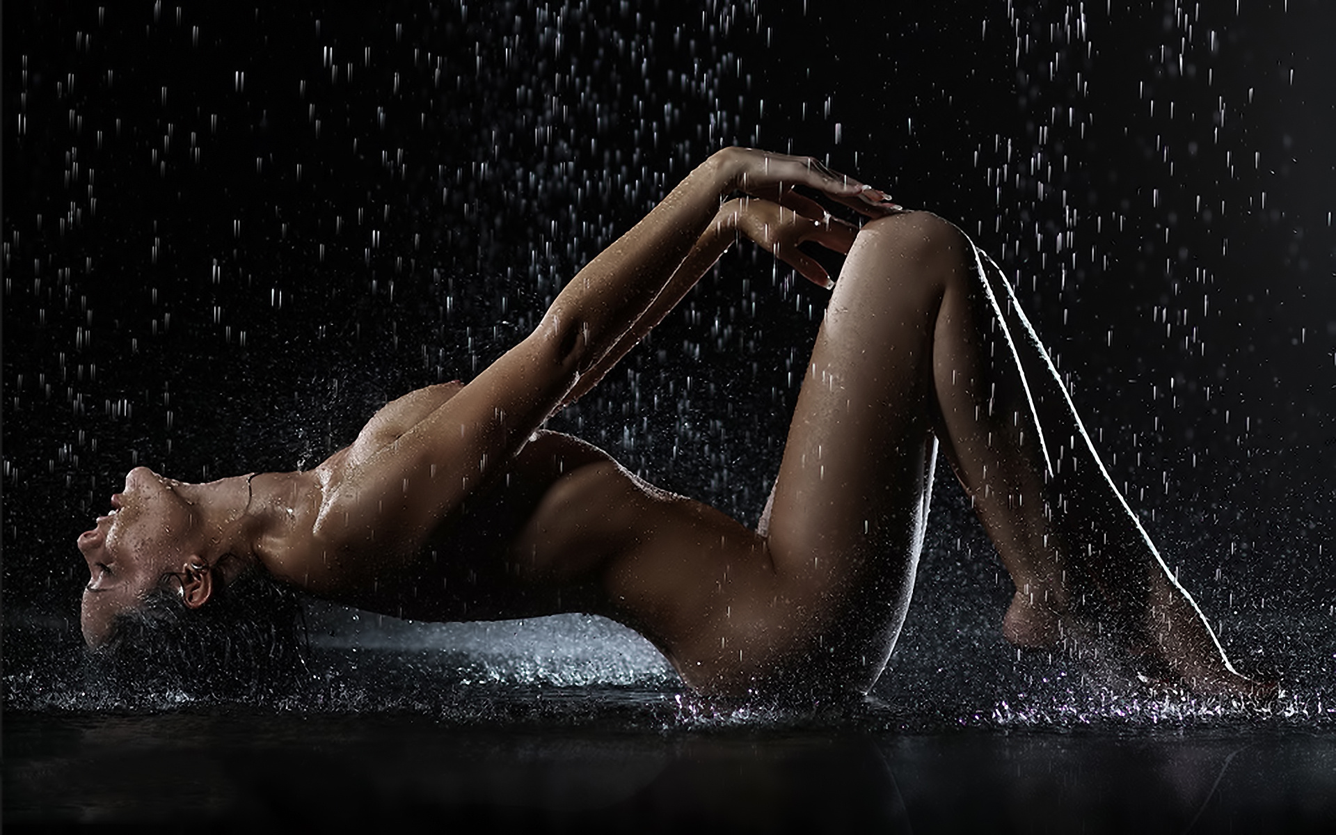 Wallpaper Nude, Wet, Titts, Tits, Rain, Shower, Brunette -3236