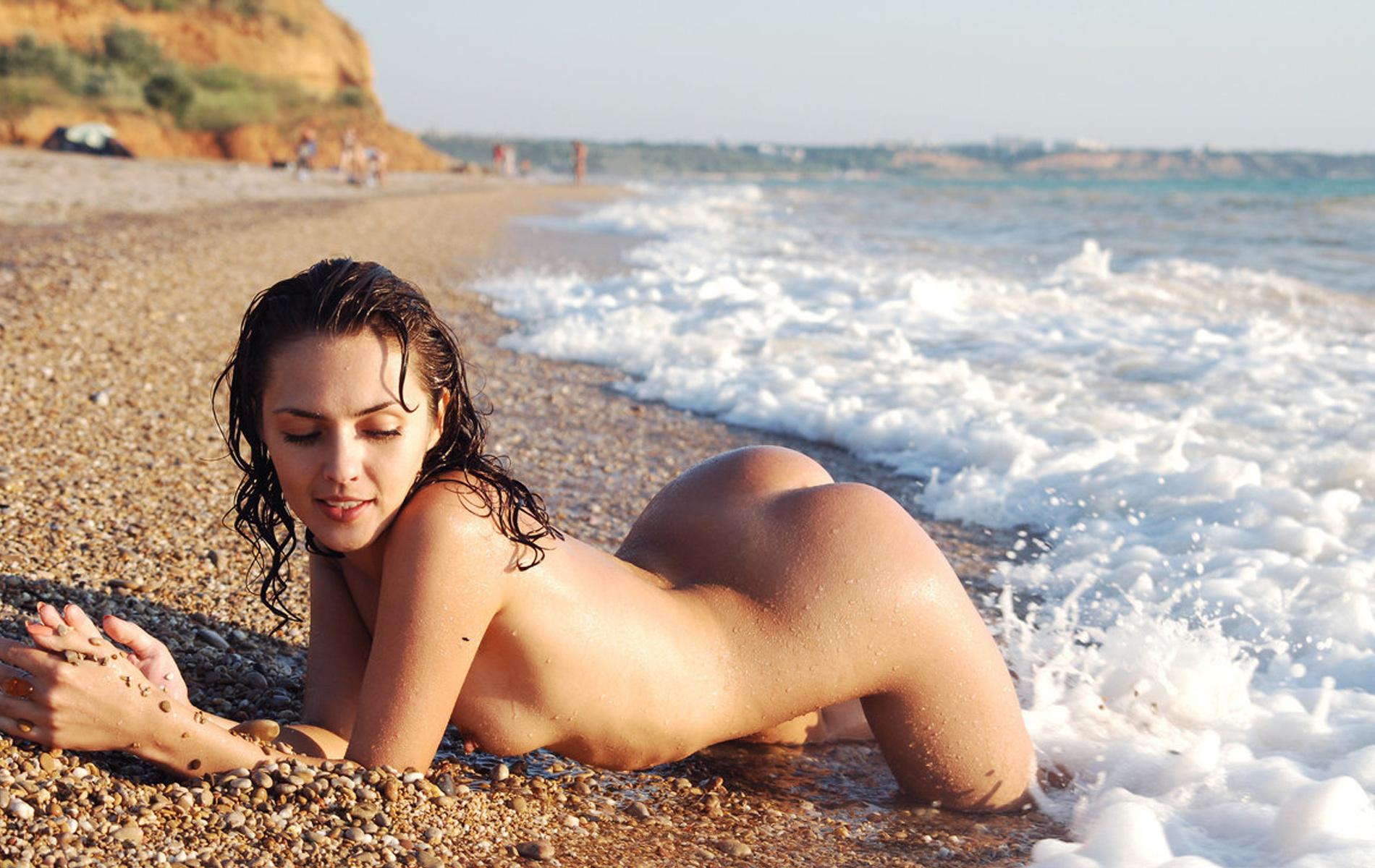 Wallpaper Nude, Beach, Sexy, Sand, Blond Desktop Wallpaper -2031