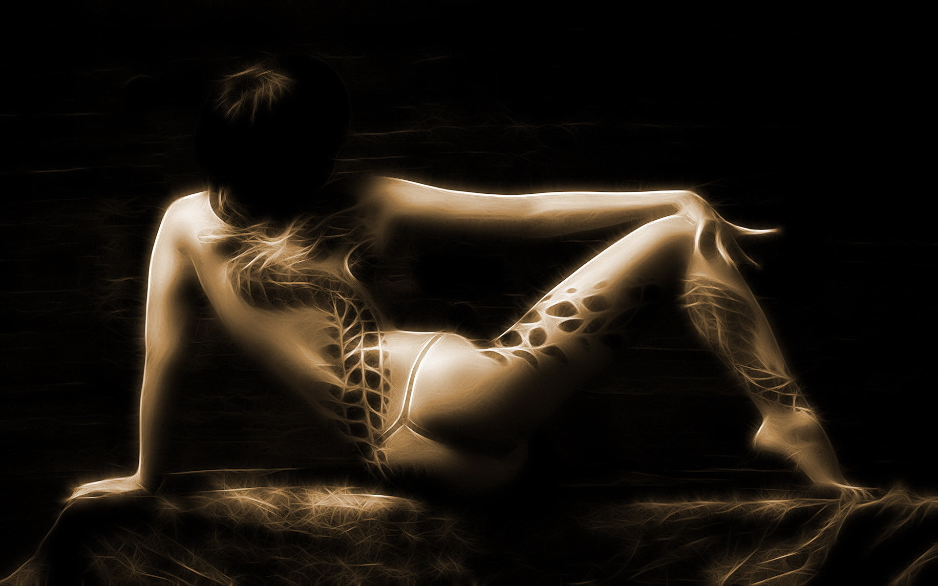 Wallpaper Brunette, Body Art Desktop Wallpaper - Fantasy -1458