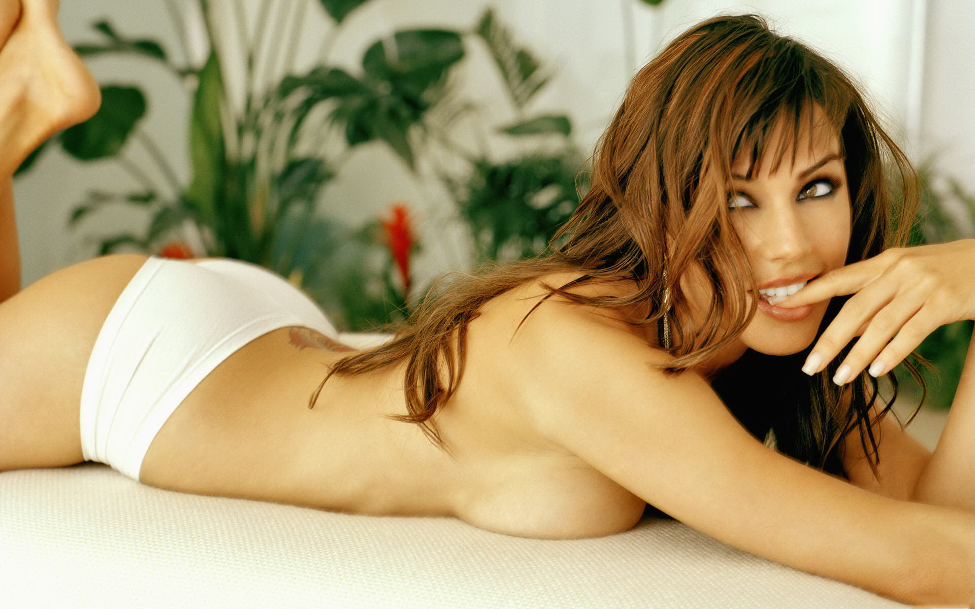 Wallpaper lingerie, shy, bed, smile, naughty, krista allen, skinny,  delicious, sexy, perfect girl, hot ass, perfect body desktop wallpaper -  Lingerie Girls ...