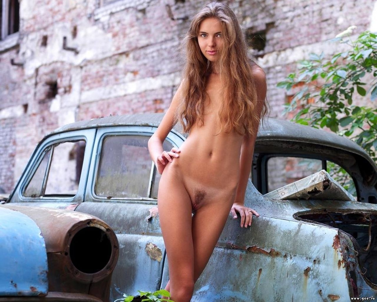 Wallpaper Blonde, Car, Pussy, Naked, Sexy, Tan Lines, Alya -3019