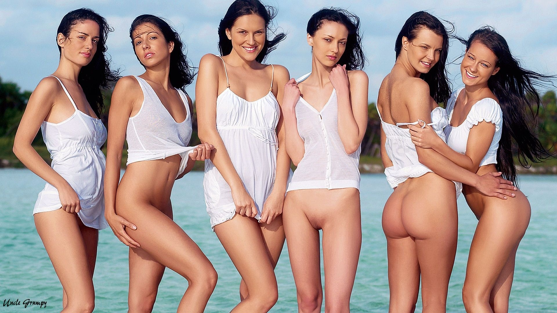 Naked groups of sexy girls on the nude beach