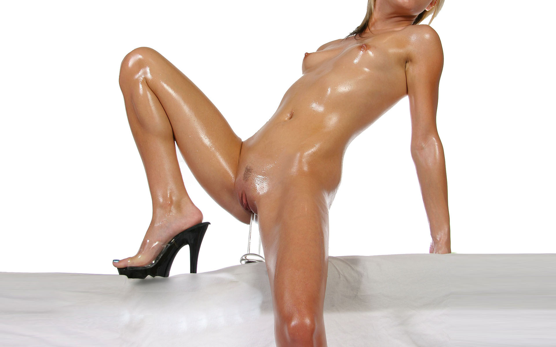 Young girls oiled up nude