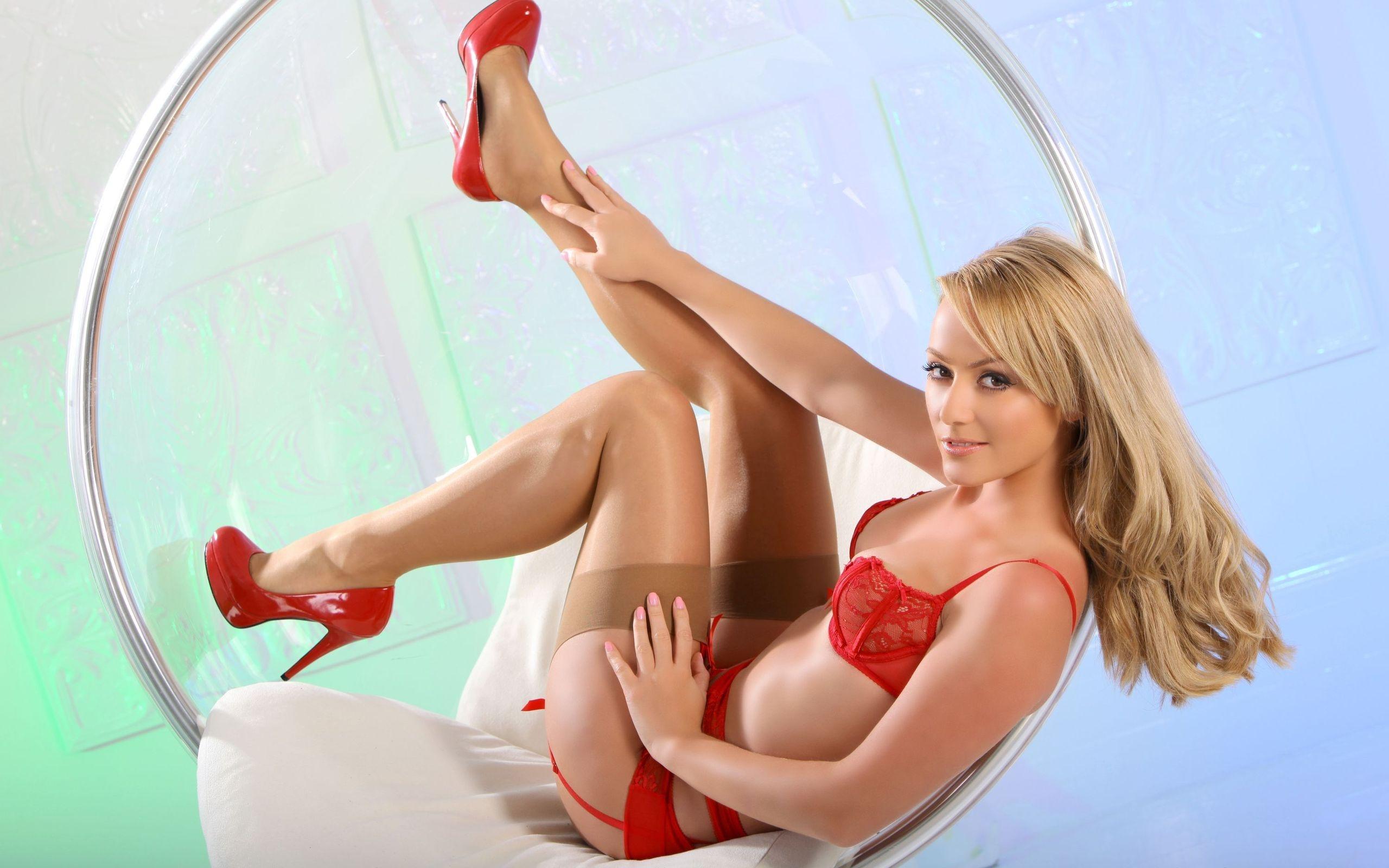 Erotic model Lexxi Tyler rubs her wet pussy wearing hot red lingerie  1059037