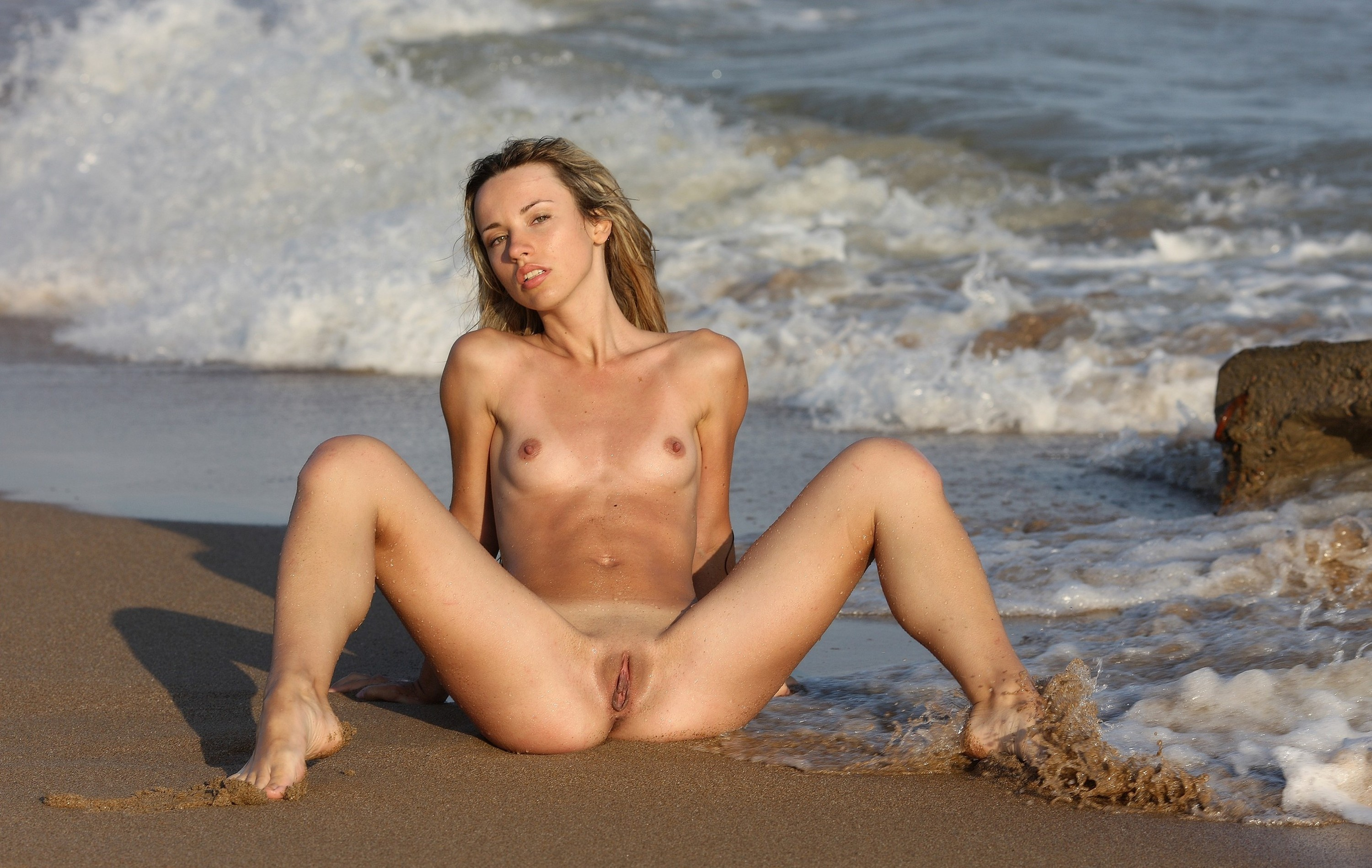 Wallpaper Blonde, Naked, Pussy, Boobs, Wet, Water, Beach -5651
