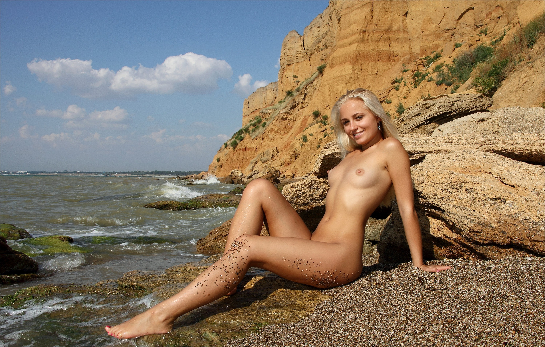 Wallpaper Gerra, Blonde, Nude, Naked, Beach, Sand, Water -5320