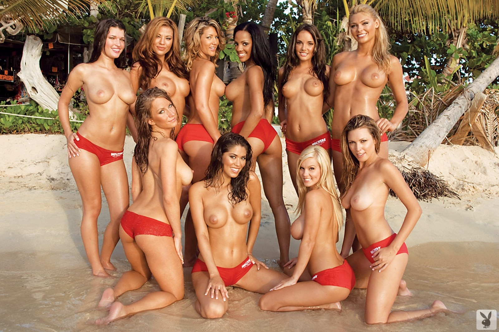 Topless big group boob women