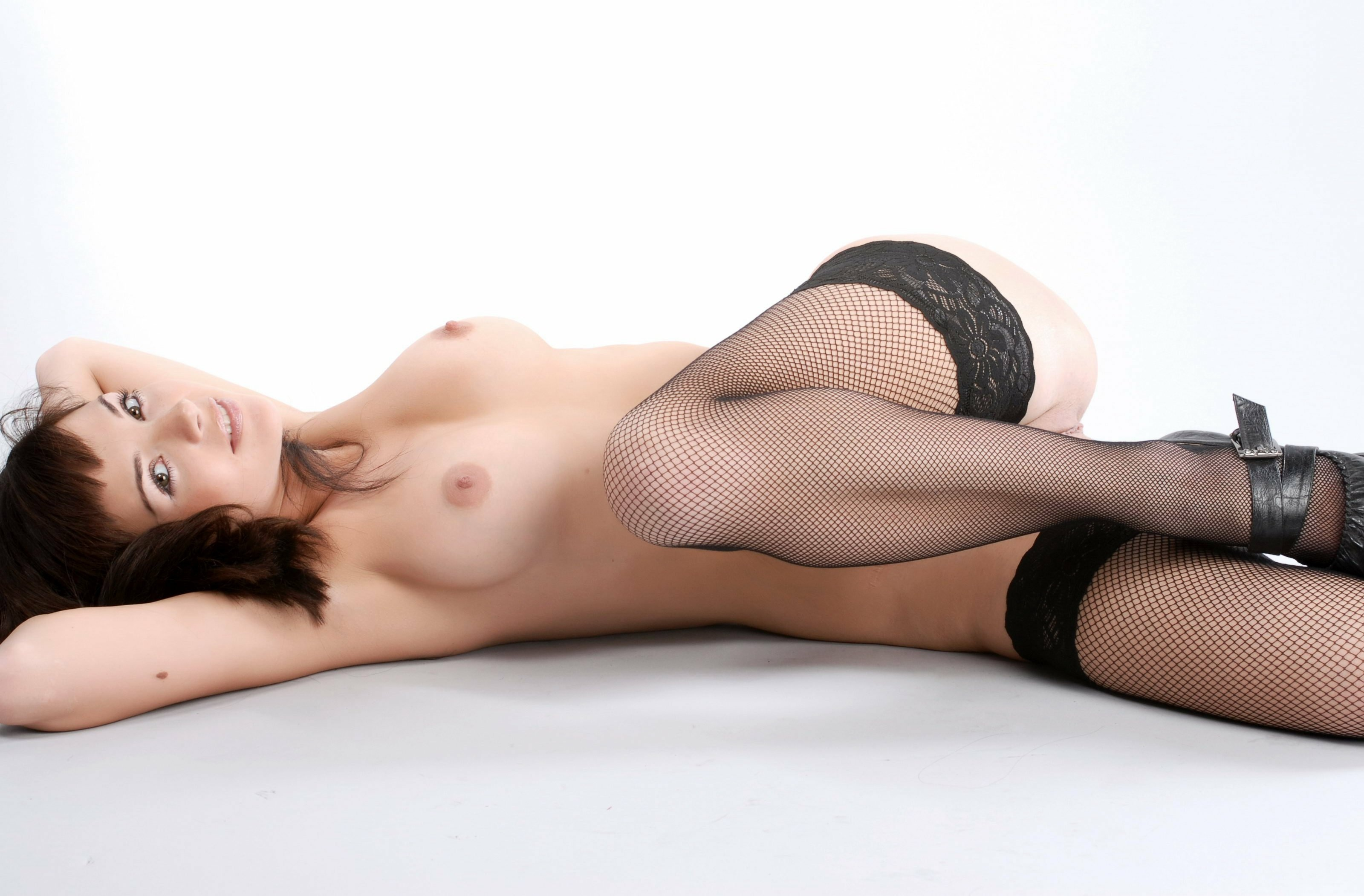 Awesomelooking brunette in stockings