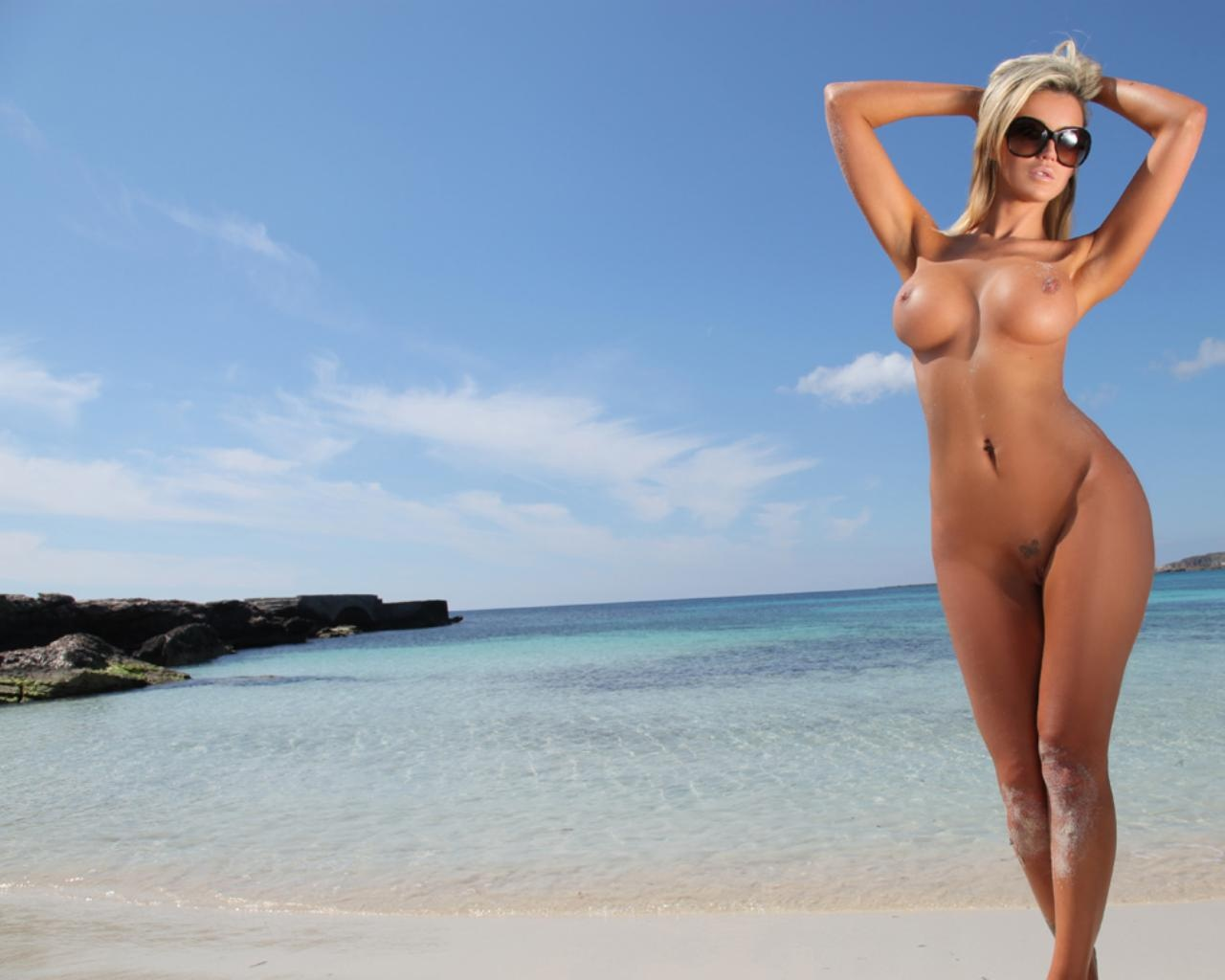 Wallpaper Holly Henderson, Nude, Naked, Beach, Big Tits -5747