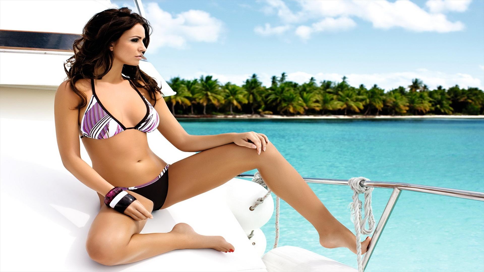 tween brunette boat bikini