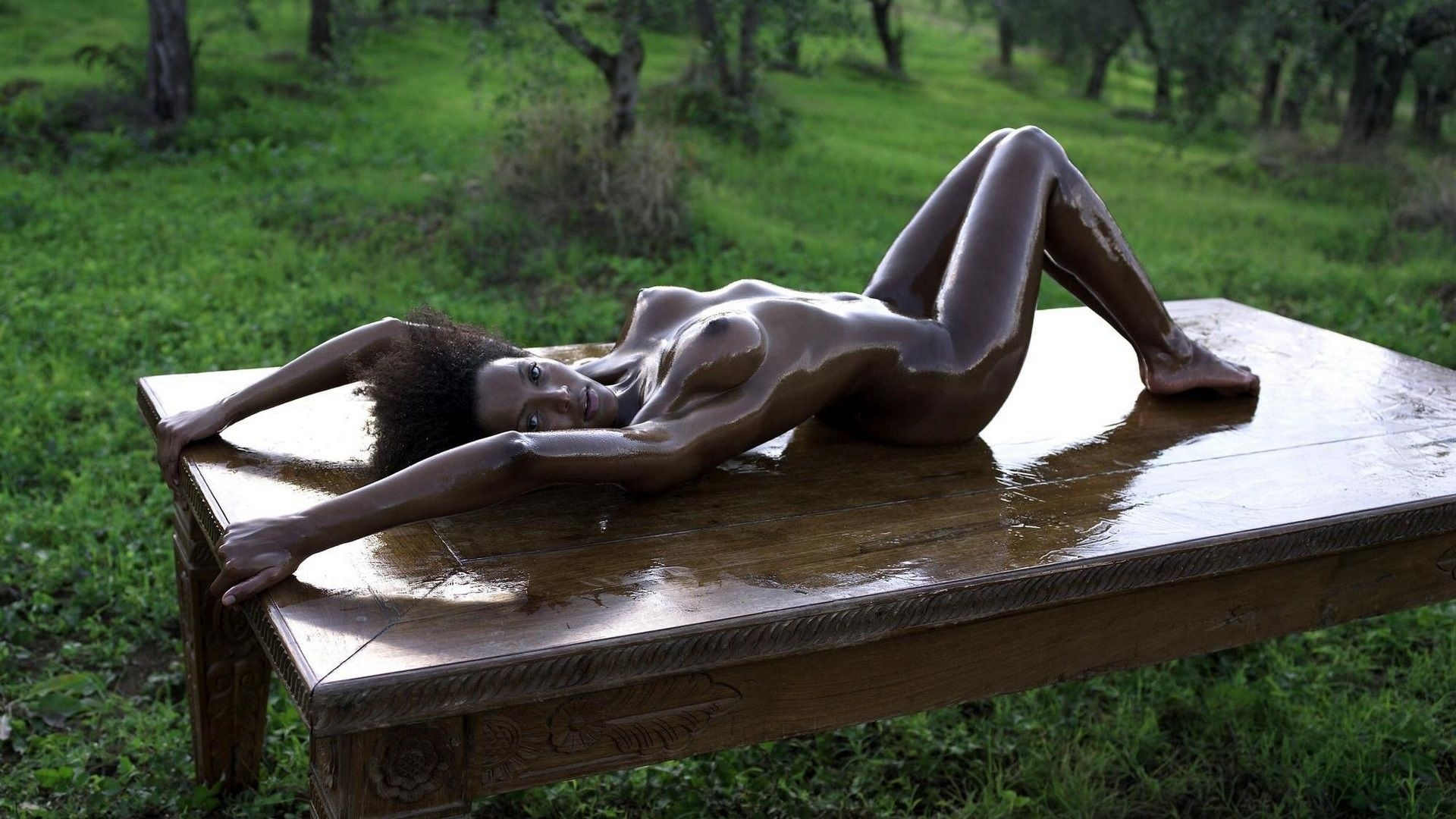 Oiled Black girl