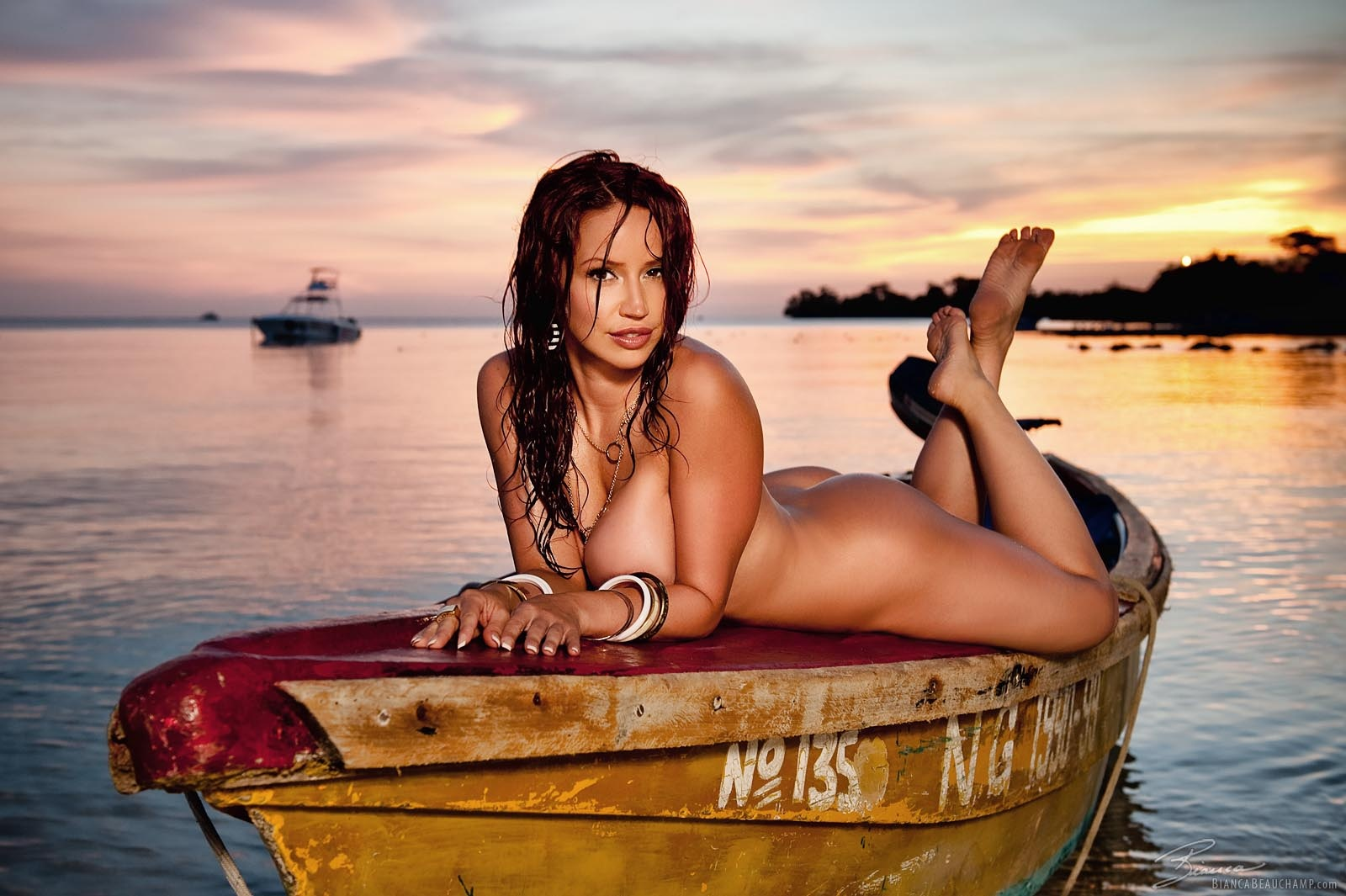 Wallpaper Bianca Beauchamp, Nude, Tits, Sexy, Boat, Wet -8028