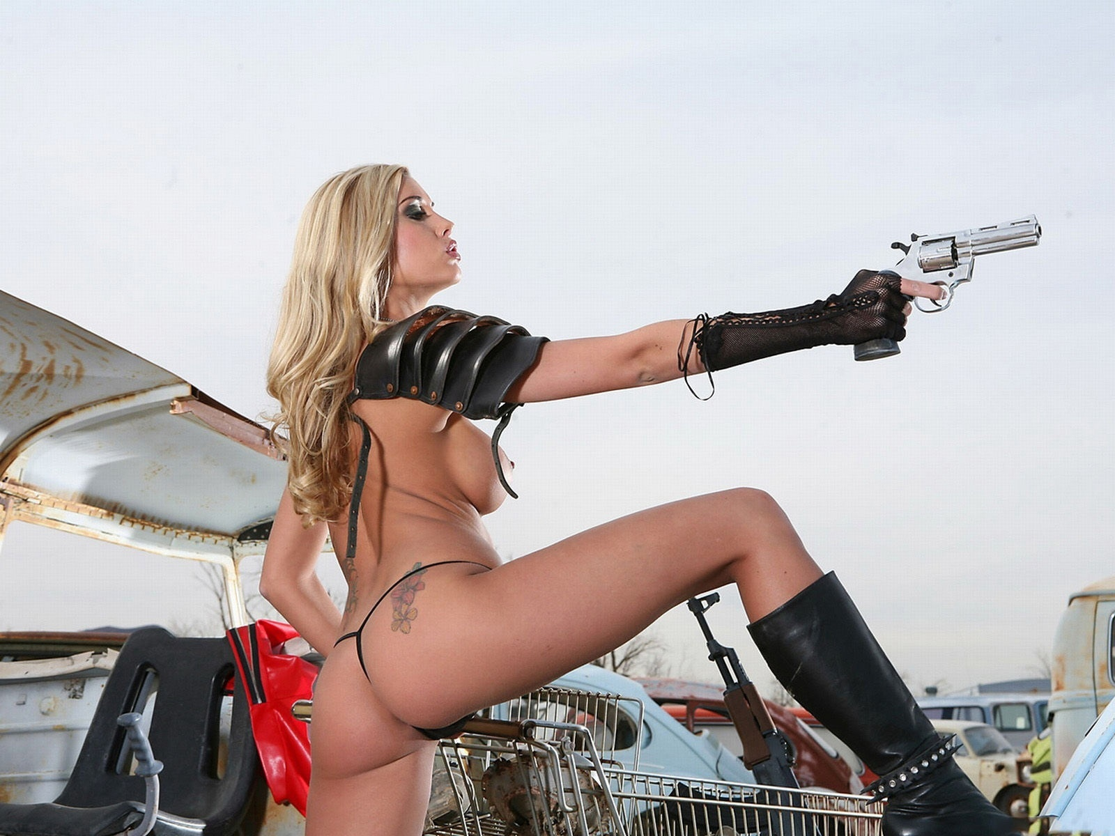 Sexy naked women with guns