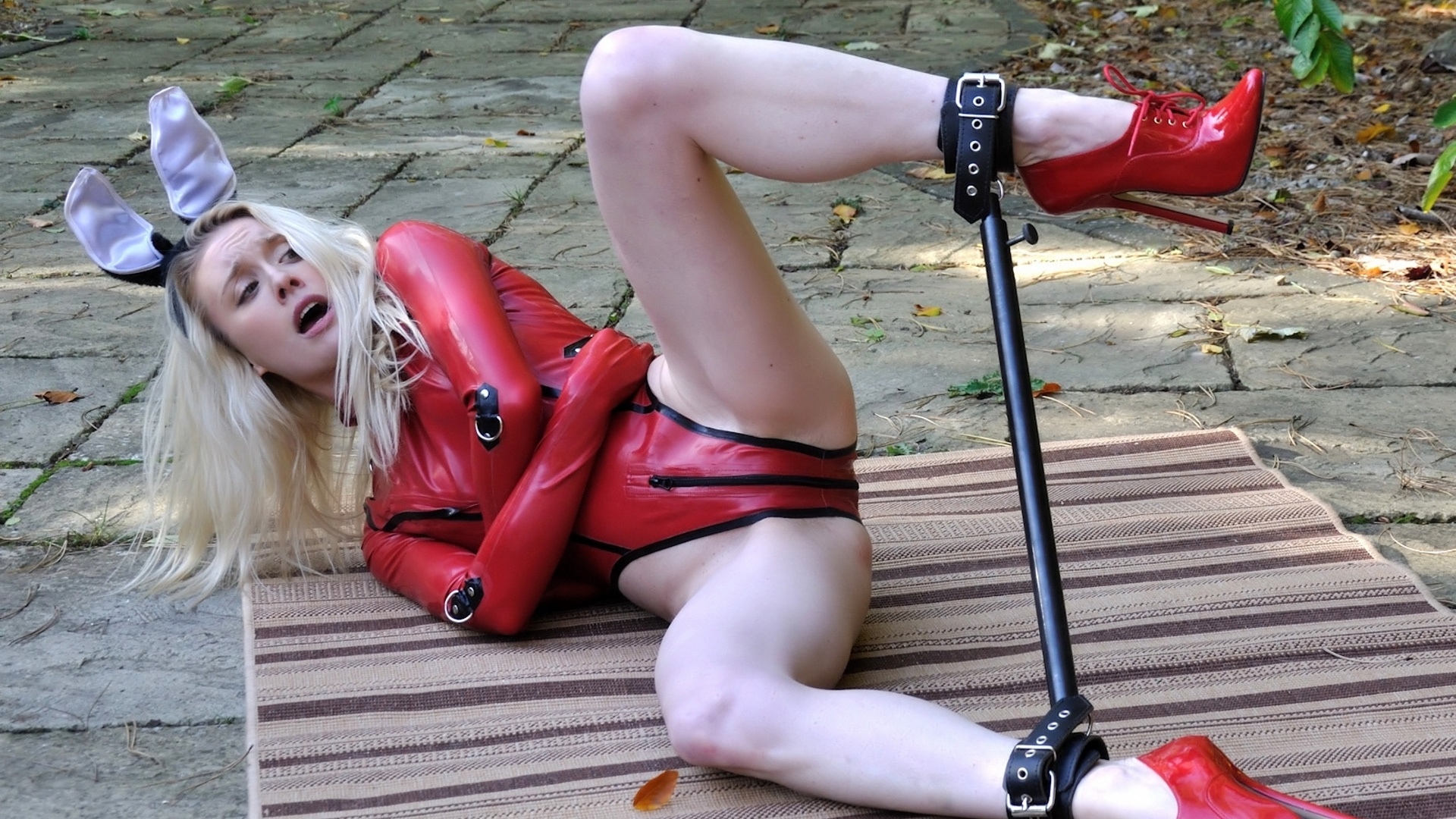 Latex girl bondage