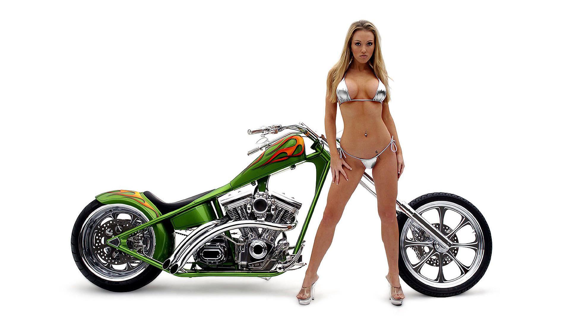wallpaper Bikini motorcycle