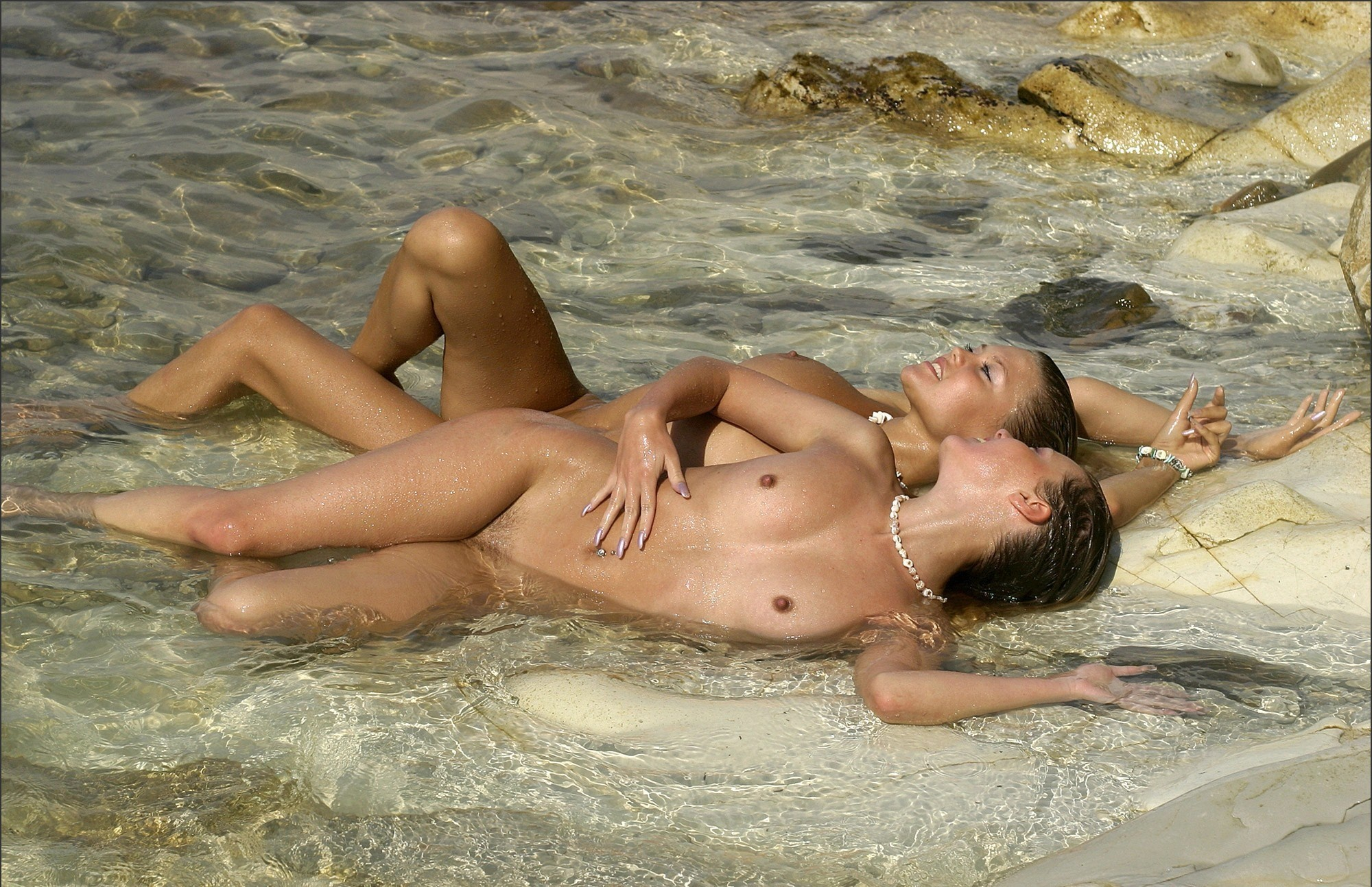 Wallpaper Tits, Nude, Beach, Svetlana, Valia, Embrace, Sea -4032