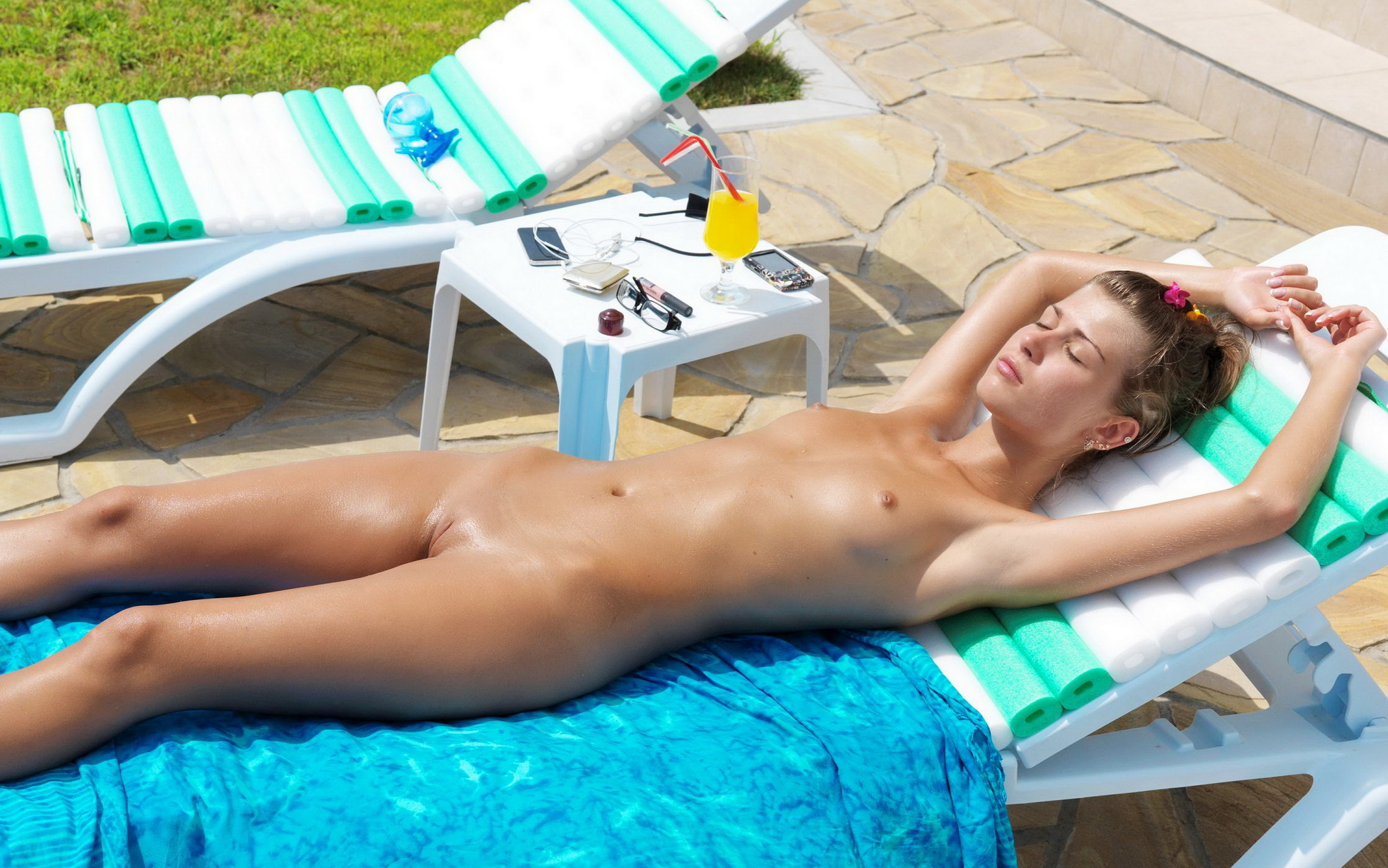 Nude at beach up oiling