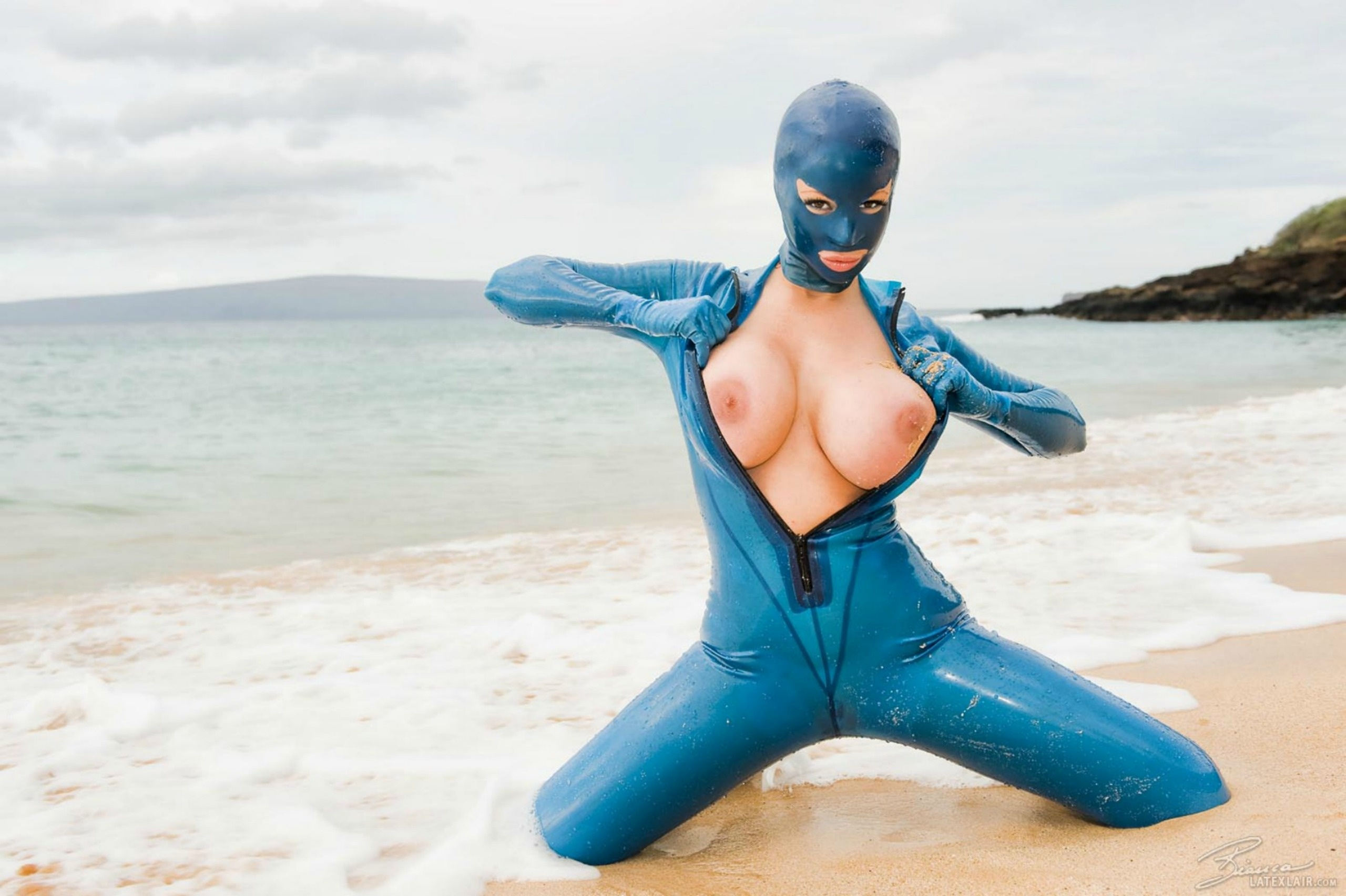 Remarkable, fetish redhead in blue latex
