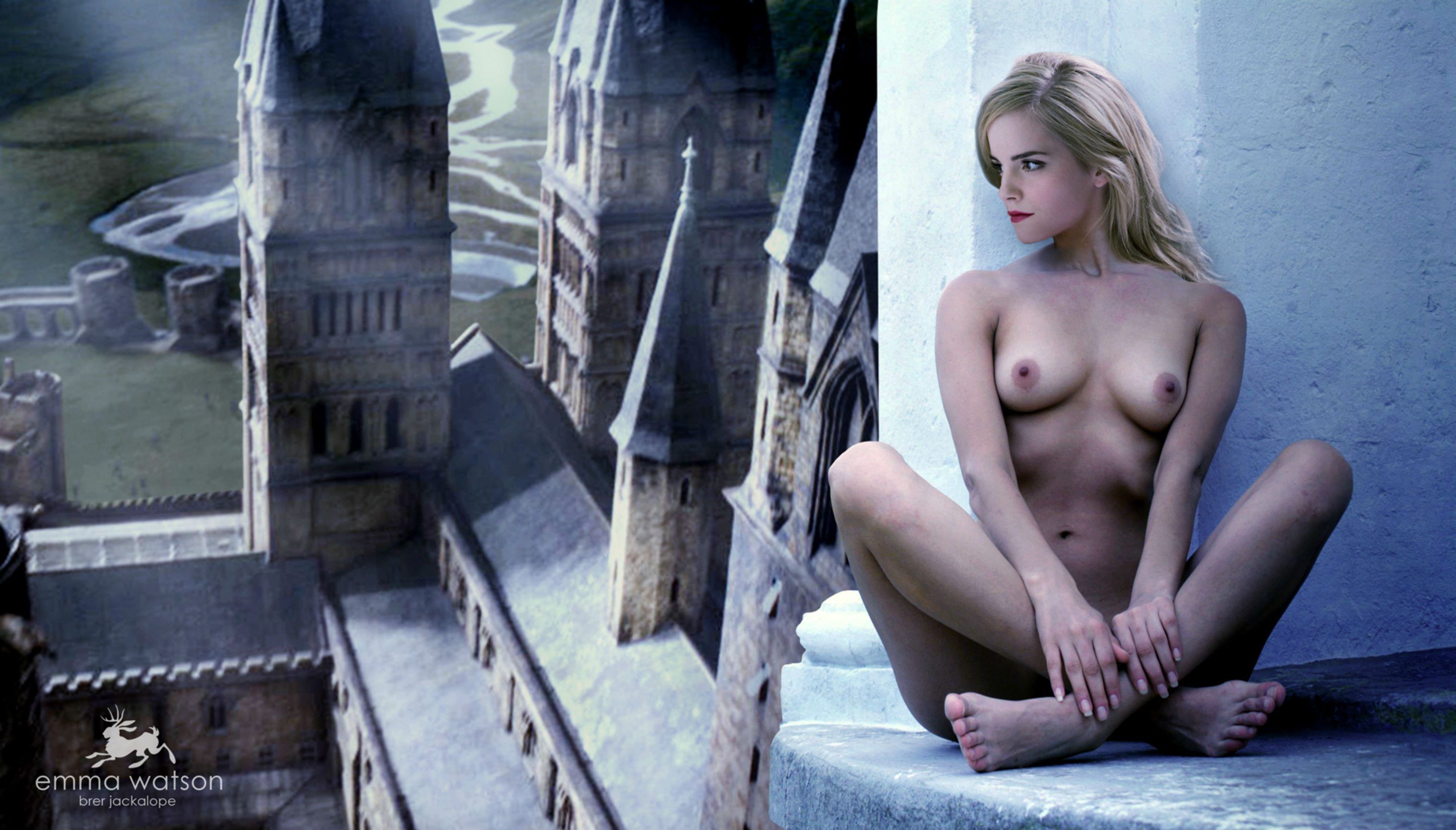 Wallpaper Fake, Actress, Emma Watson, Nude, Boobs, Legs -6834