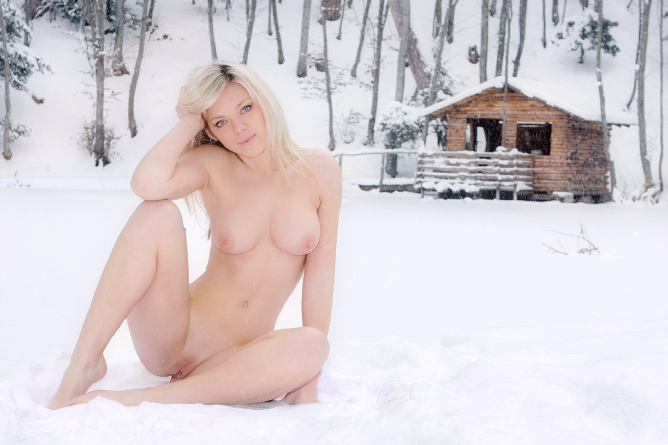 Hot blonds naked in the snow consider