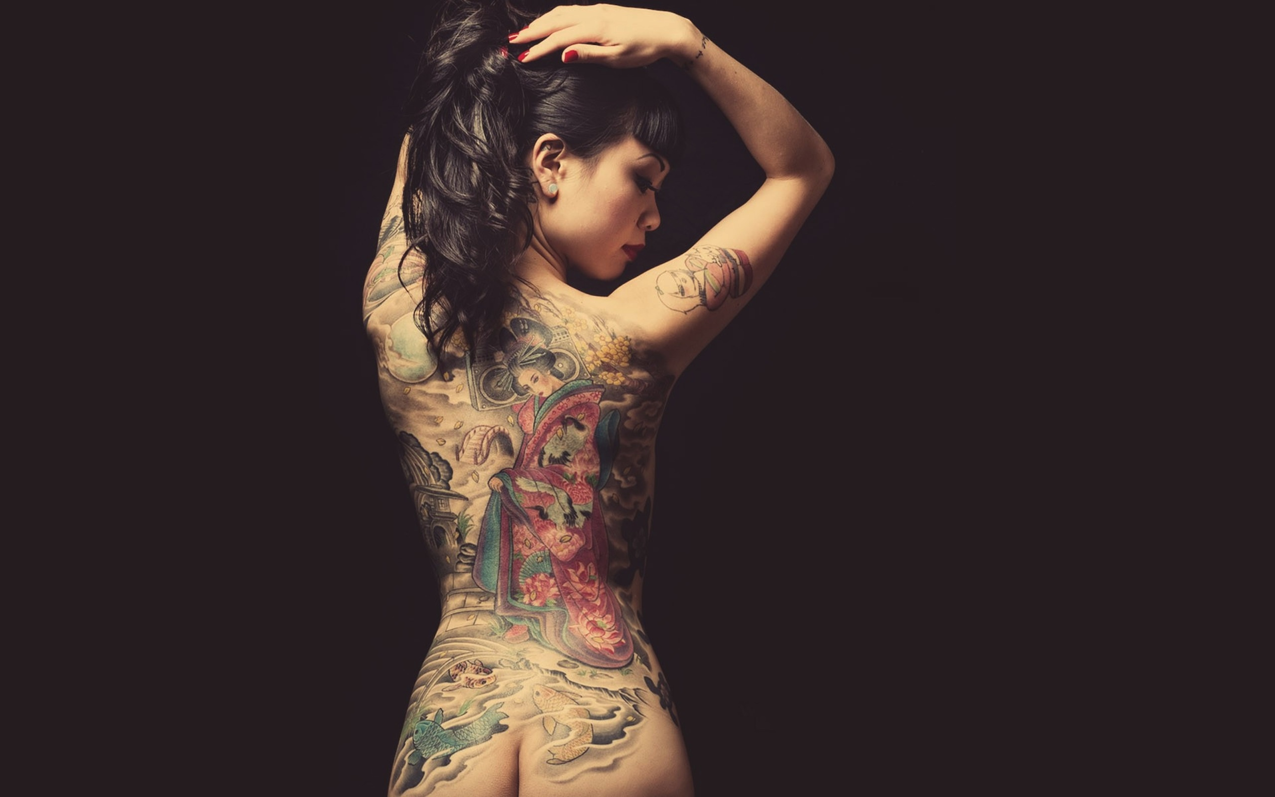 Wallpaper Asian, Tattoos, Earring, Women, Back View, Nude -3544