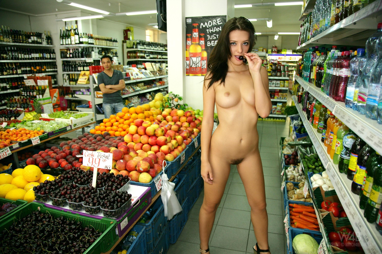 Wallpaper Brunette, Nude, Public, Market, Tits, Anna Tatu -2377