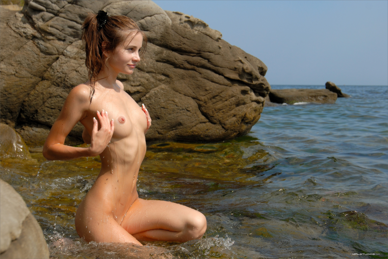 Wallpaper Wet, Tits, Small Tits, Beach, Sea, Young -5724
