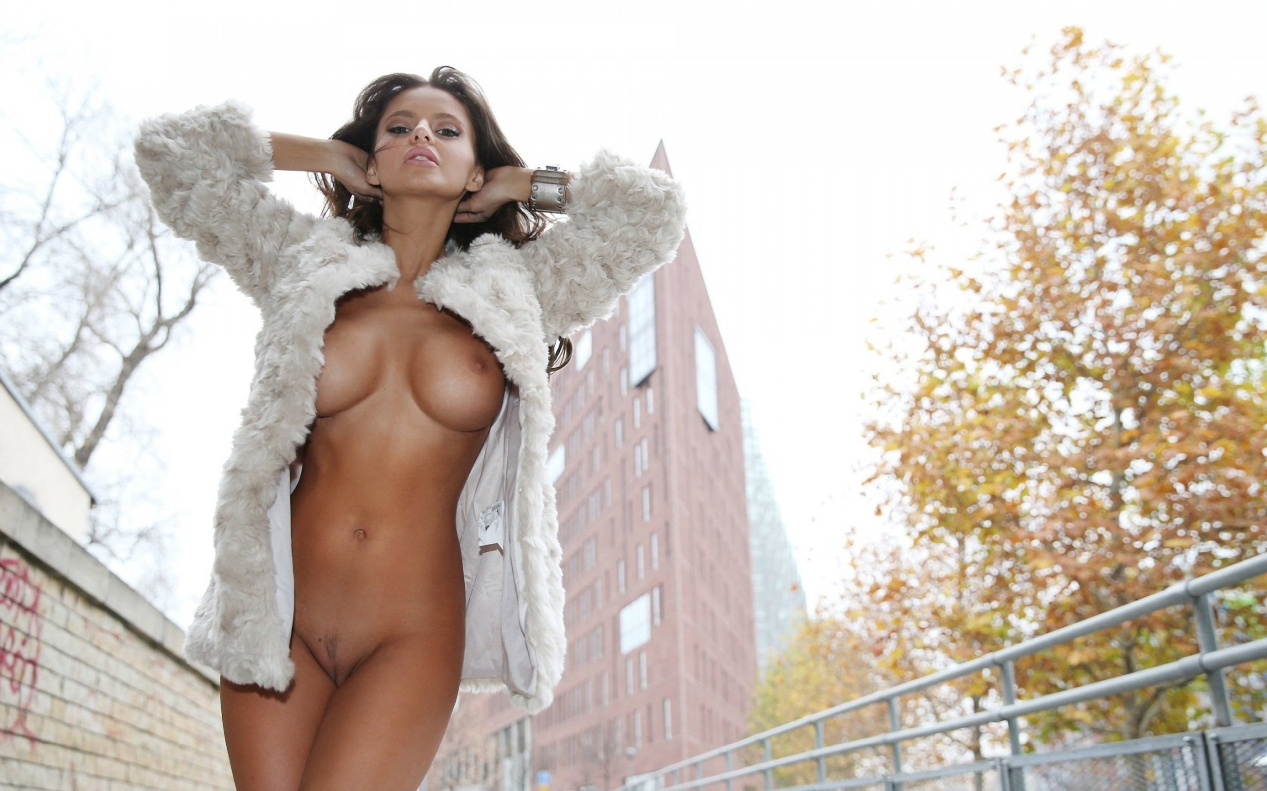 Dana flashes about town and masturbates naked part2