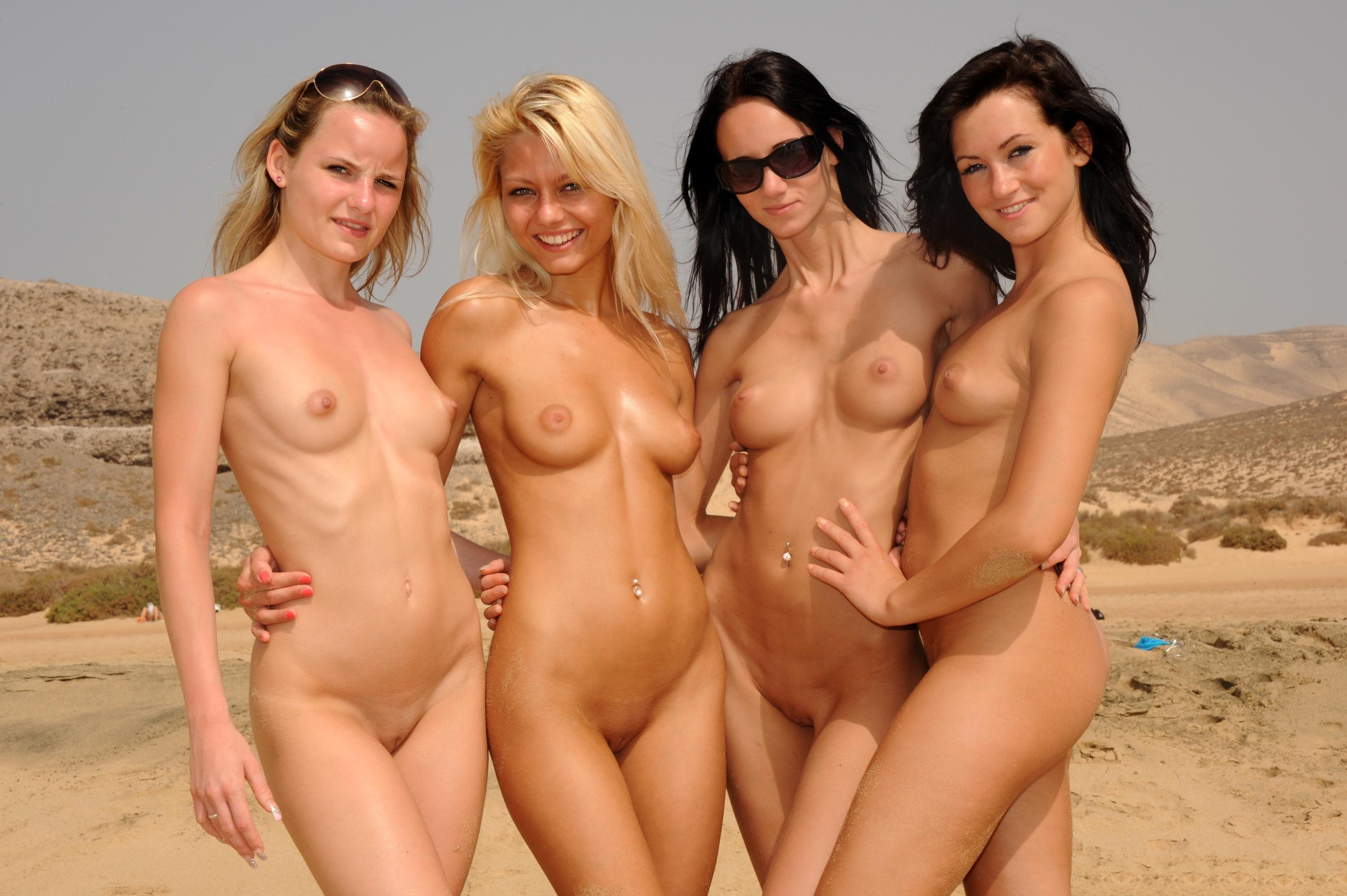 nude group girls on beach