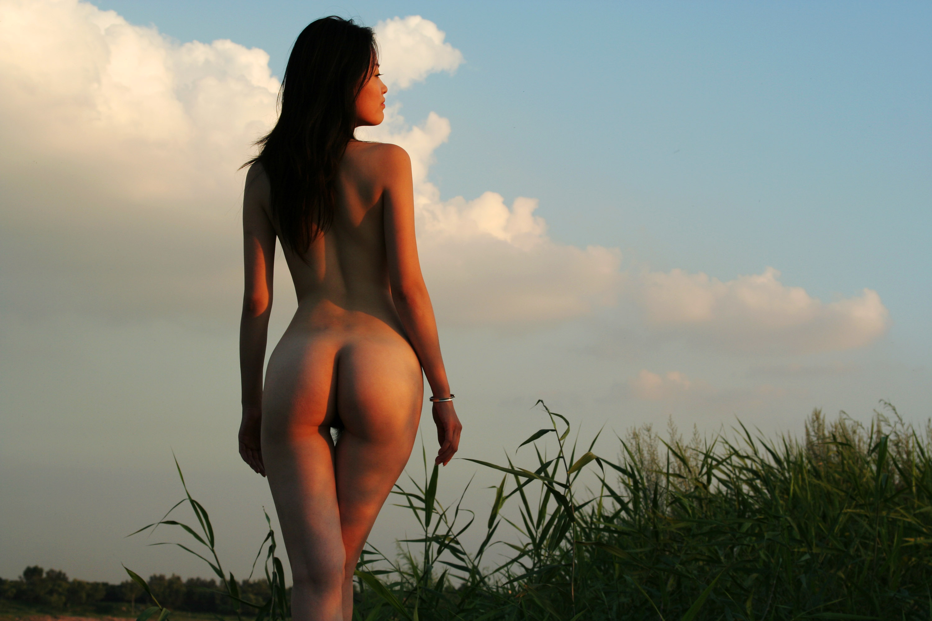 Wallpaper Tiang Fang, Chinese, Nude, Brunette, Ass, Back -5278