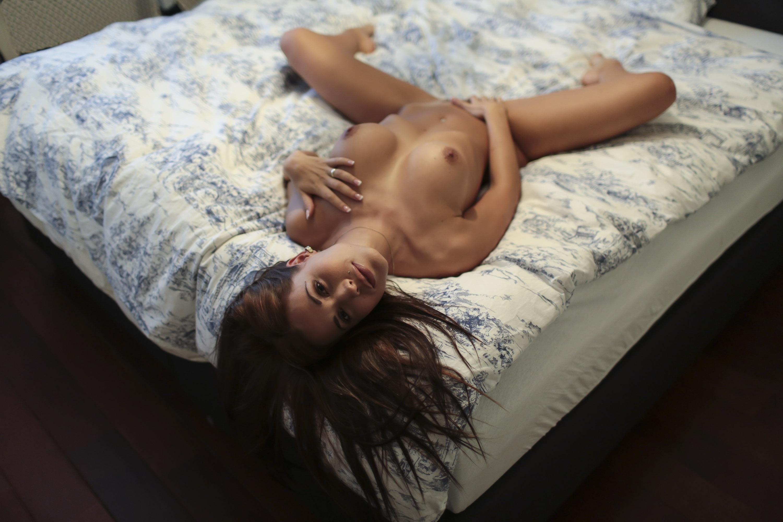 Wallpaper satin bloom, brunette, sexy, girl, nude, naked ...