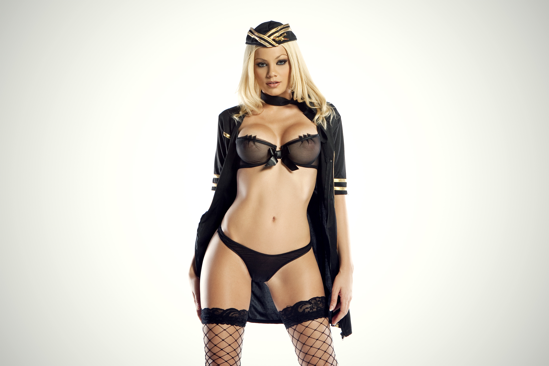 Wallpaper Blonde, Sexy Girl, Lingerie, Uniform, Stewardess -9546