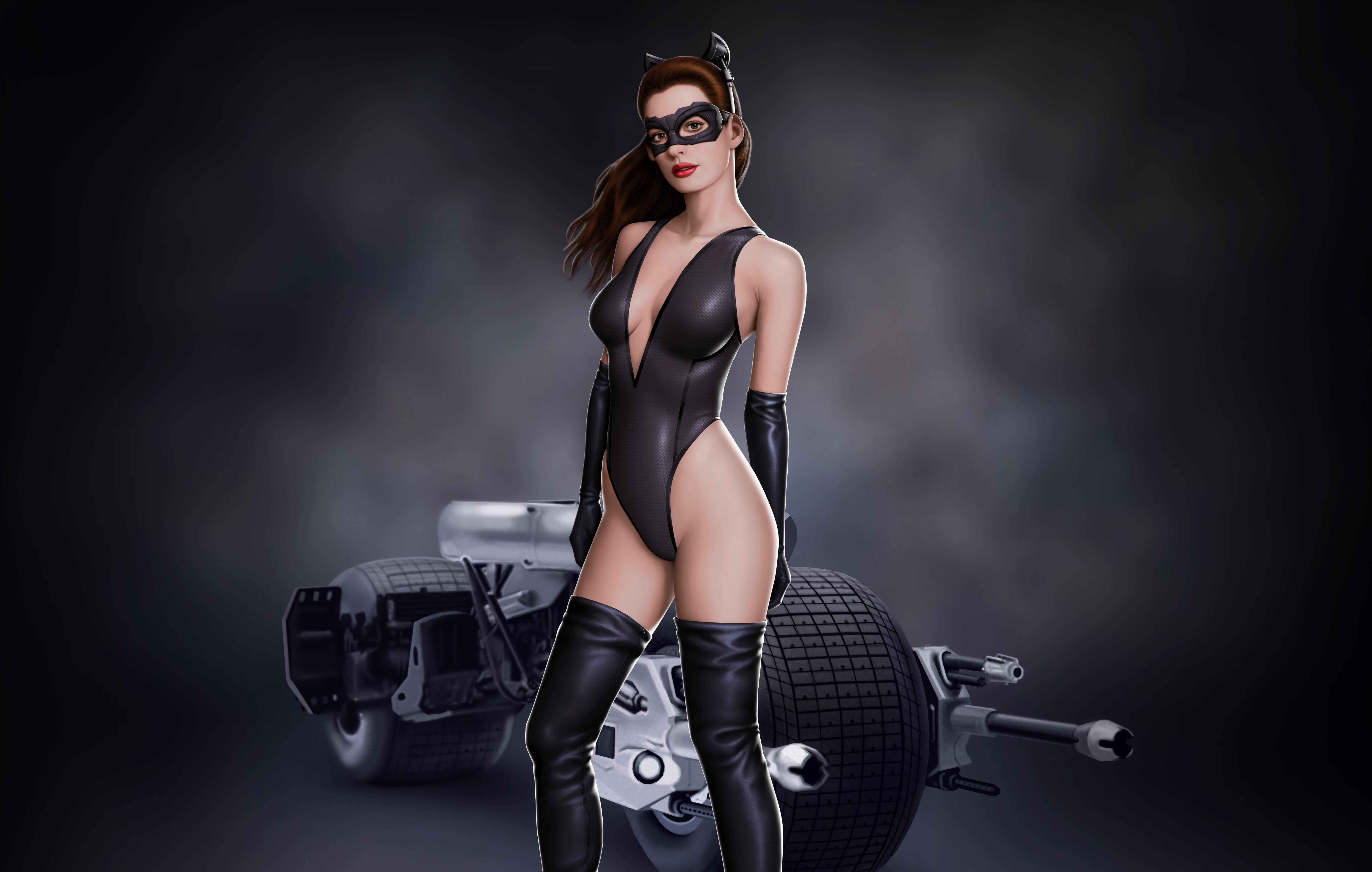 wallpaper art, anne, anne hathaway, catwoman, bike, batman, movie