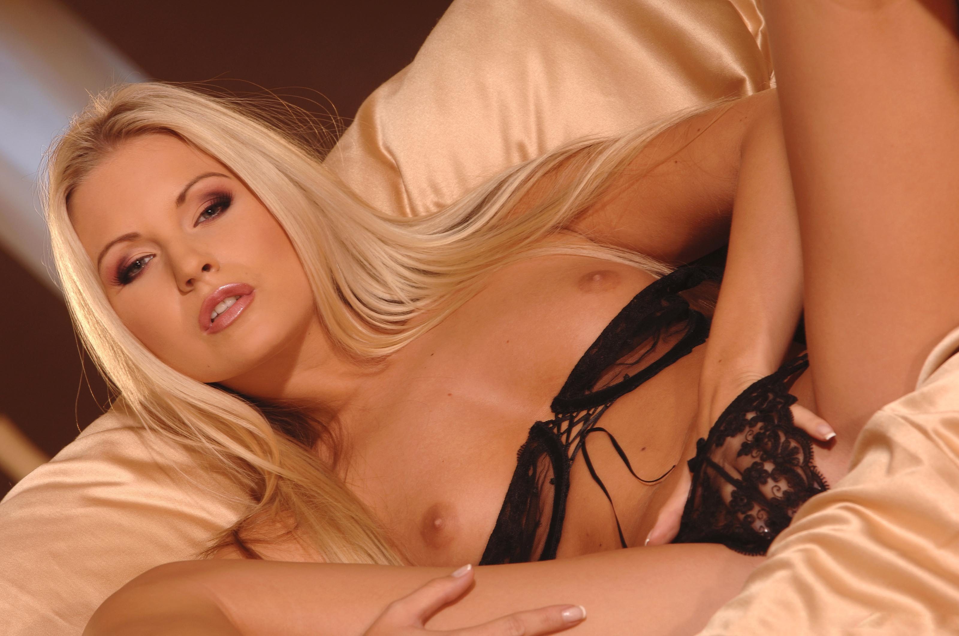 Can blonde wearing lingerie solo interesting. Prompt