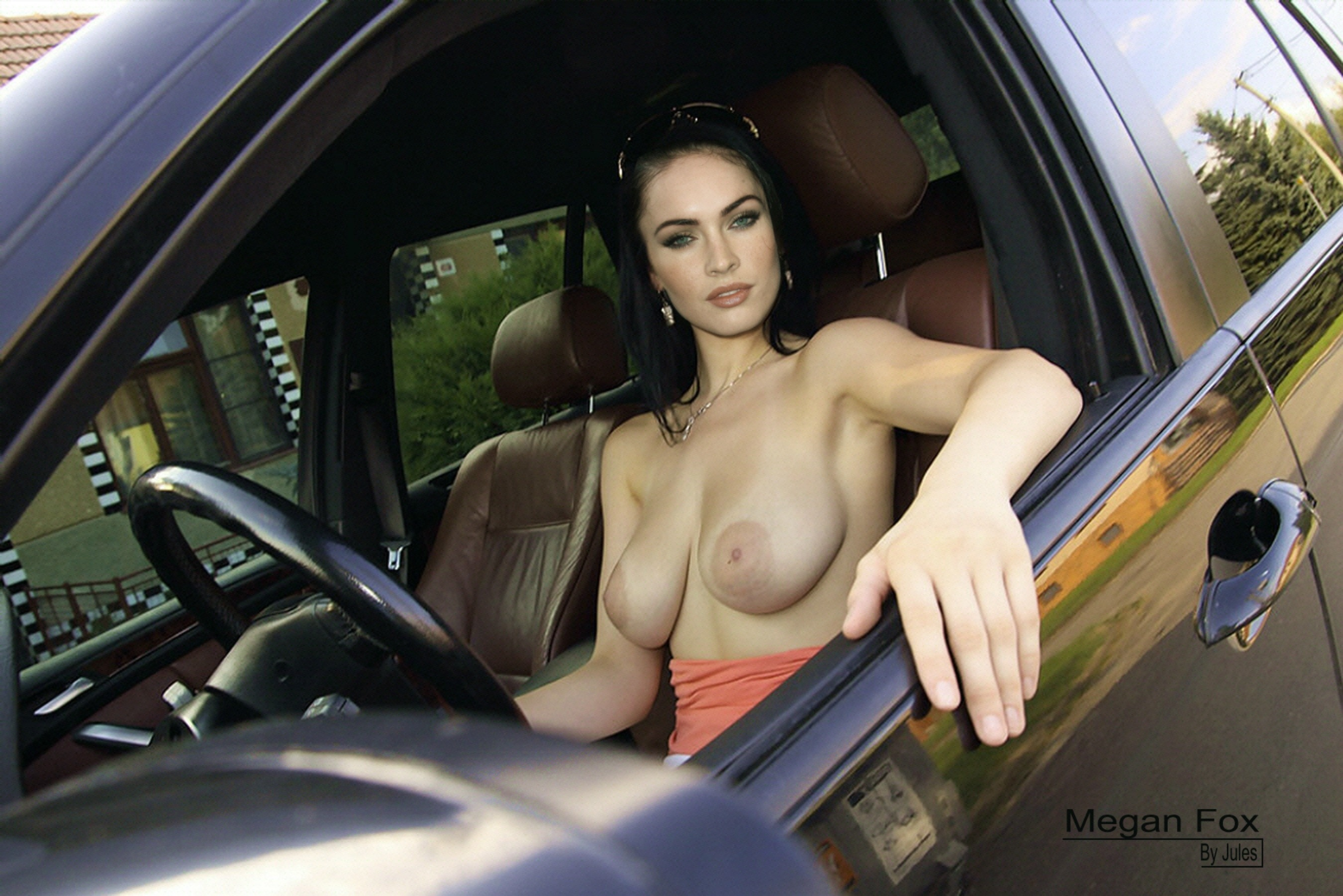 Wallpaper Megan Fox, Boobs, Car, Actress, Fake, Celebrity -9868