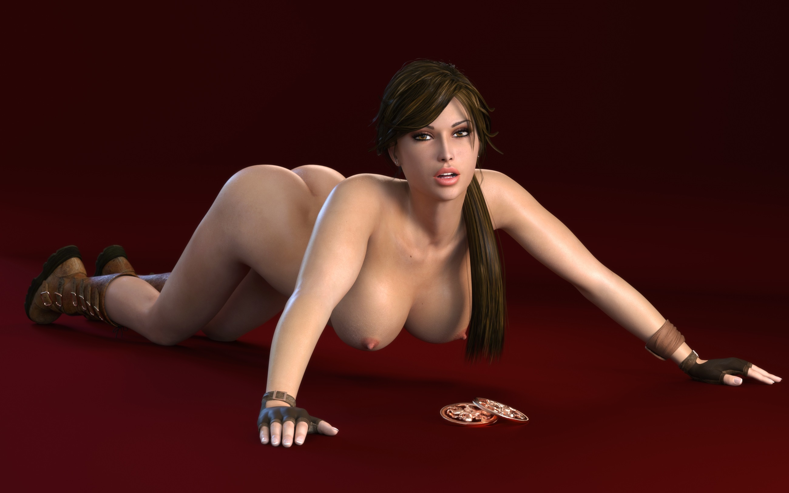 wallpaper lara croft, tomb raider, art, 3d, sexy, nude, boobs, tits