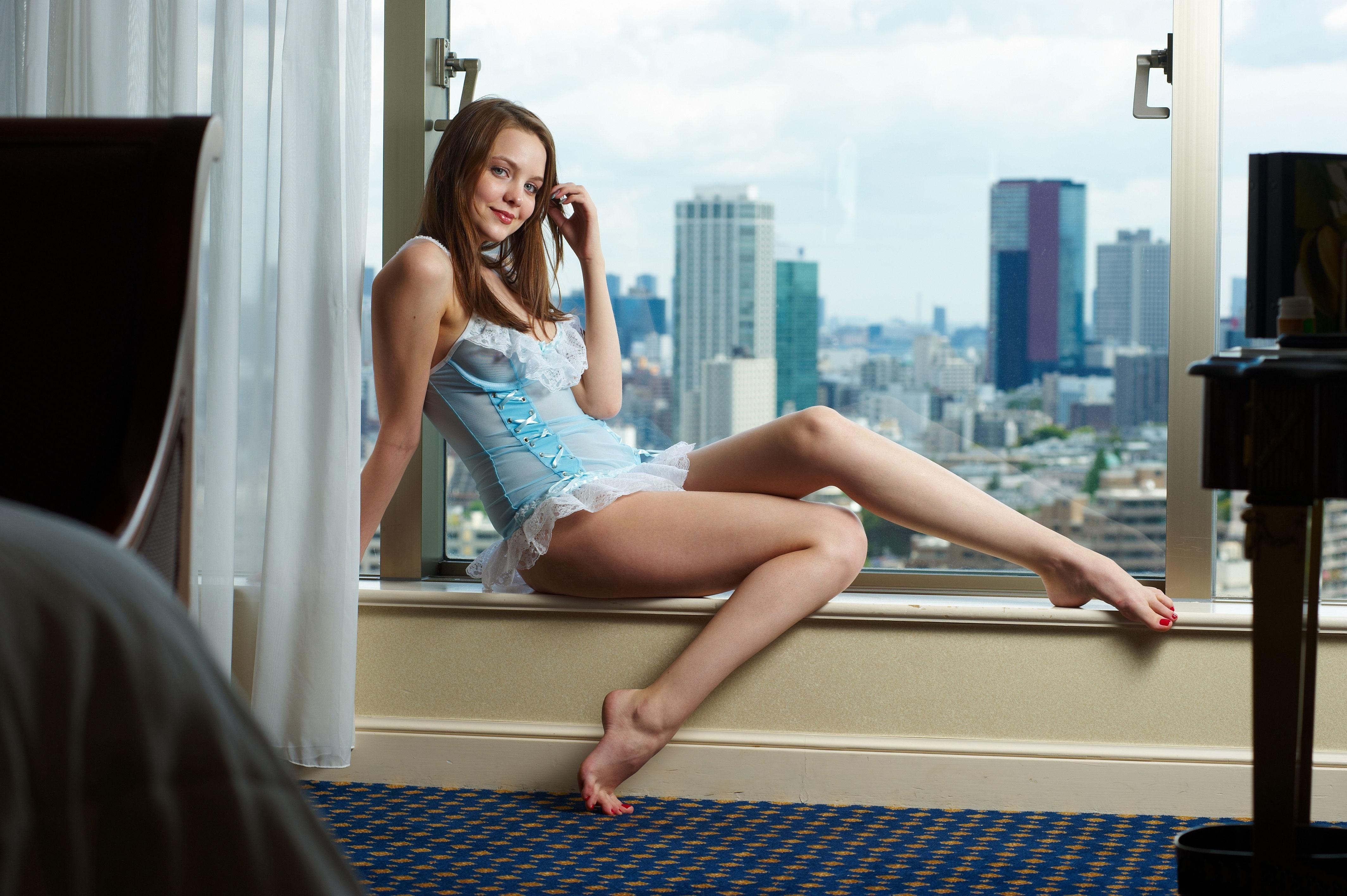 Wallpaper Amelie Sexy Girl Sweet Cute Model Lingerie Sexy Legs Window Long Hair View
