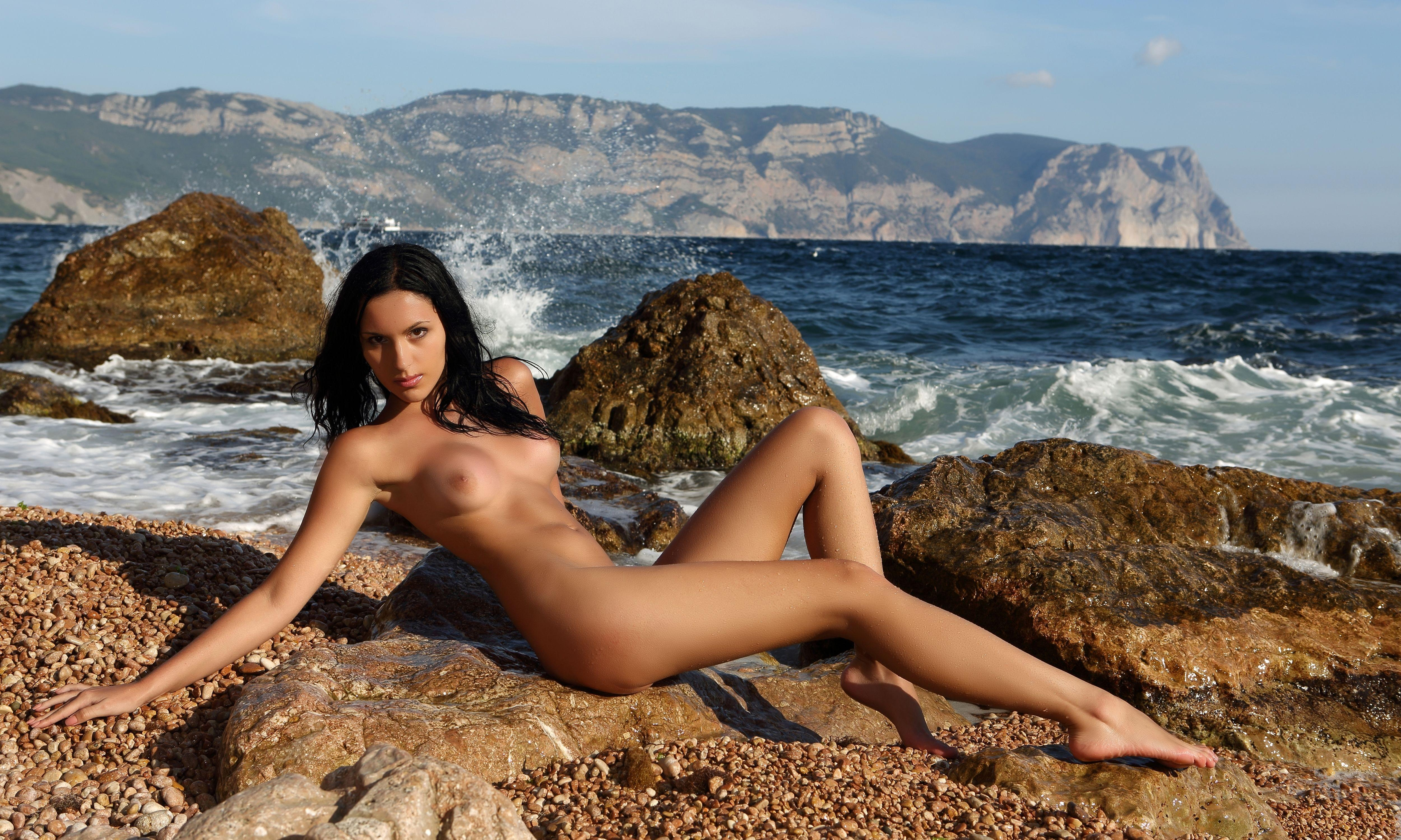 Wallpaper Nadina L, Brunette, Sexy Girl, Nude, Naked -1802