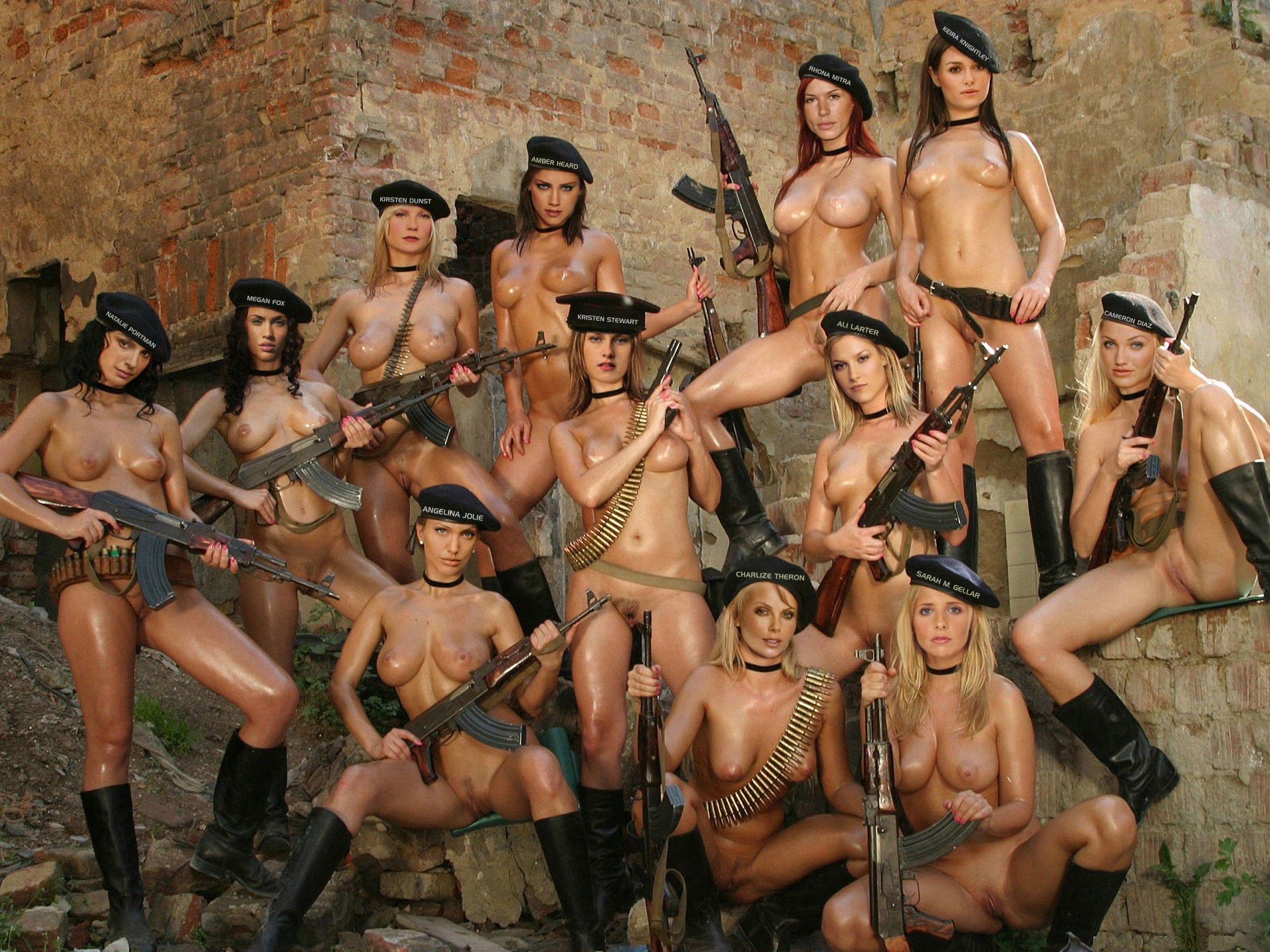 Alaskafake Porn wallpaper multi-celebrity, nude, group, fake, guns, whores