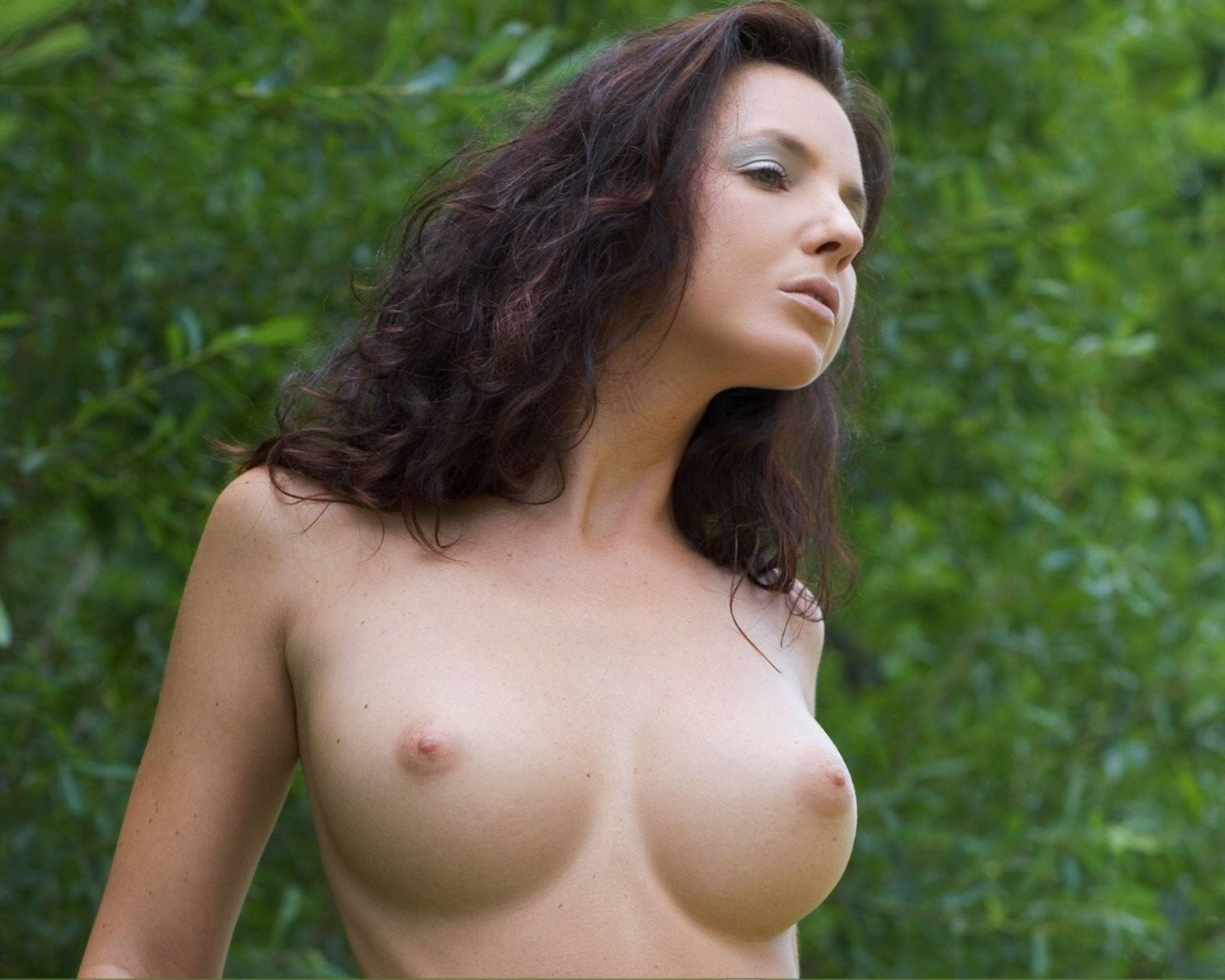 Brunette firm breasts