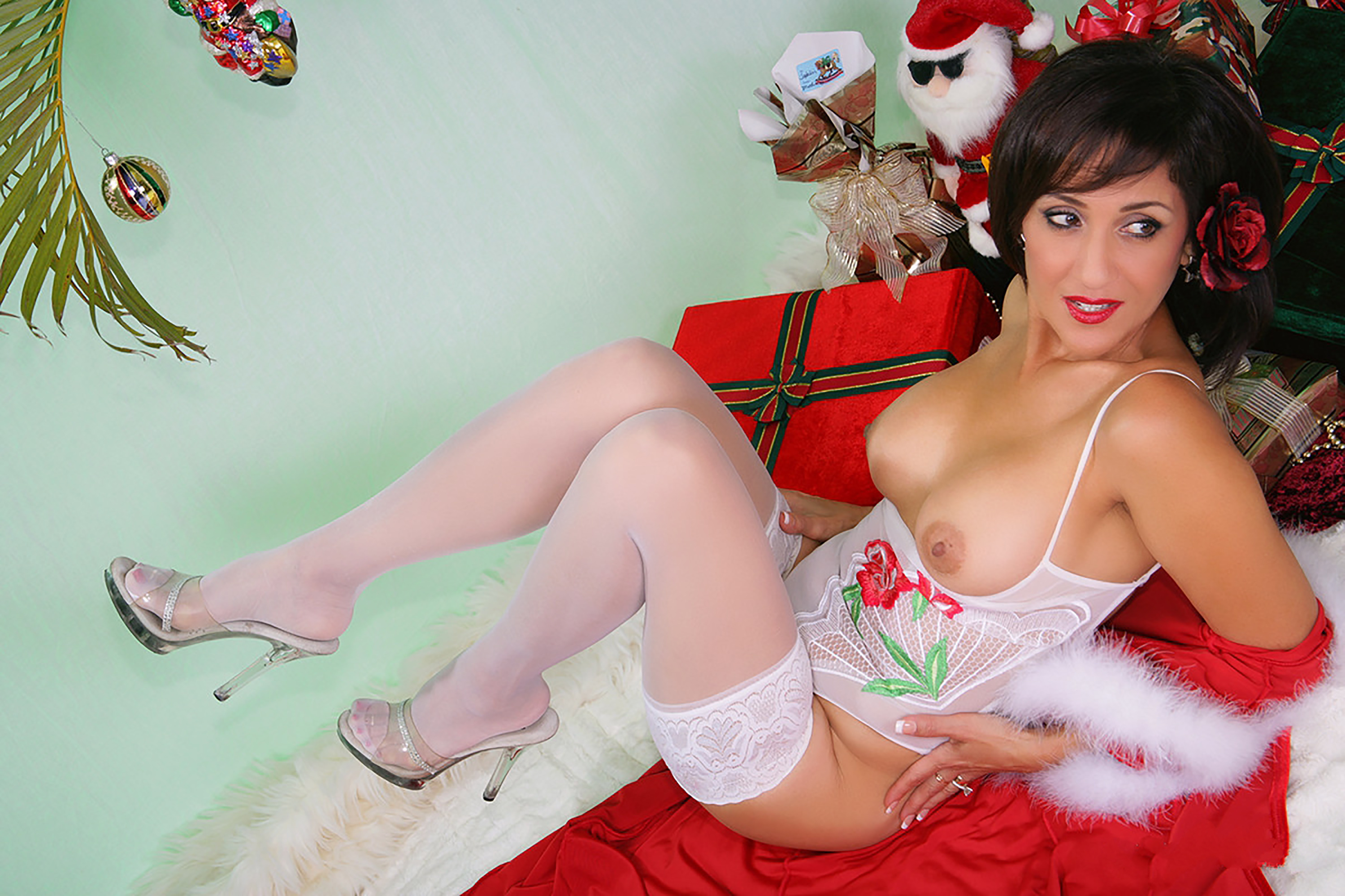 Wallpaper Roni, Santa, Lingerie, Stockings, Ronis Paradise -4129