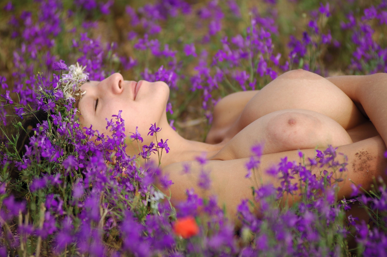 Naked in field