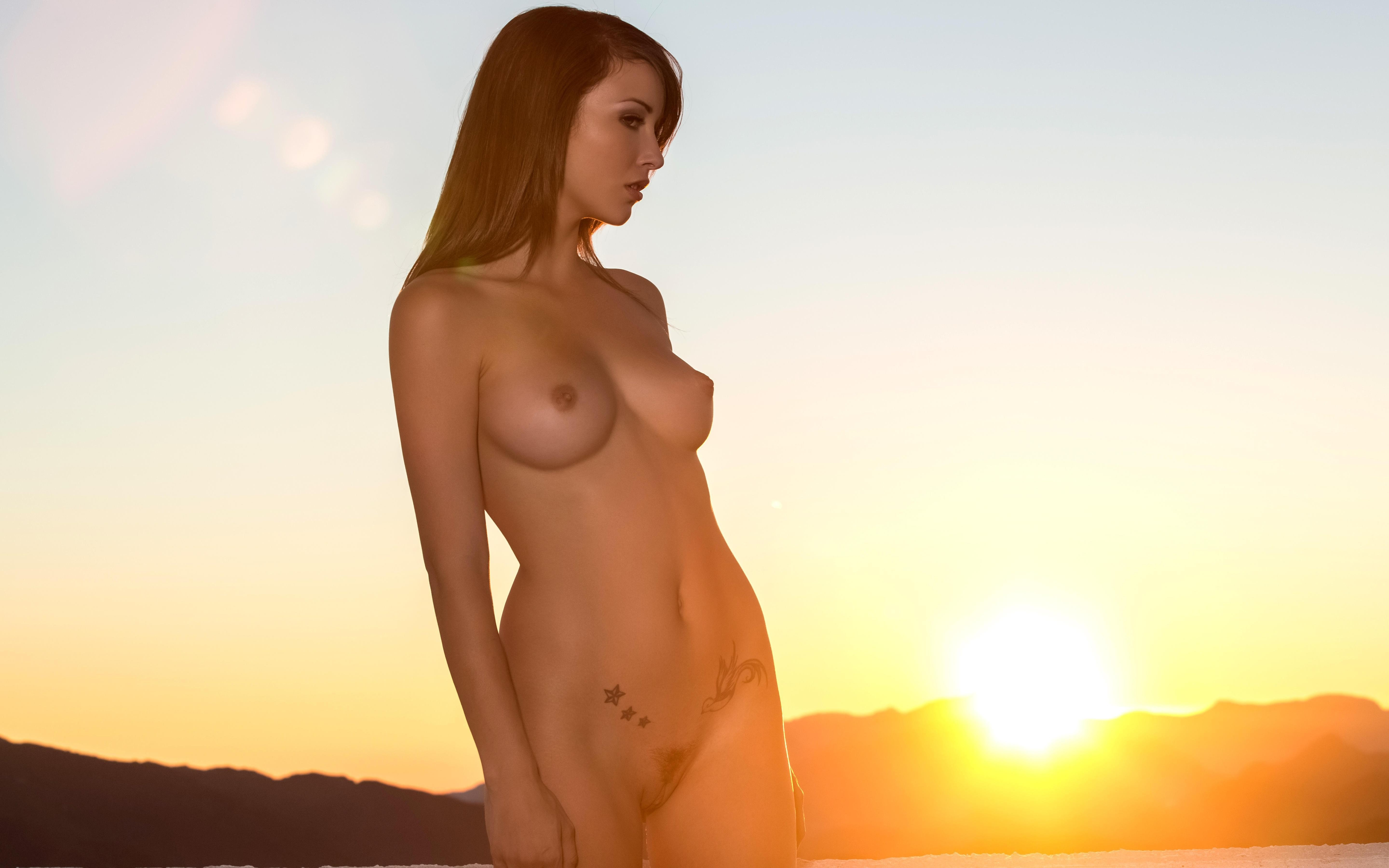 hot nude naked sexy cute model erotic outdoor sunset wallpaper