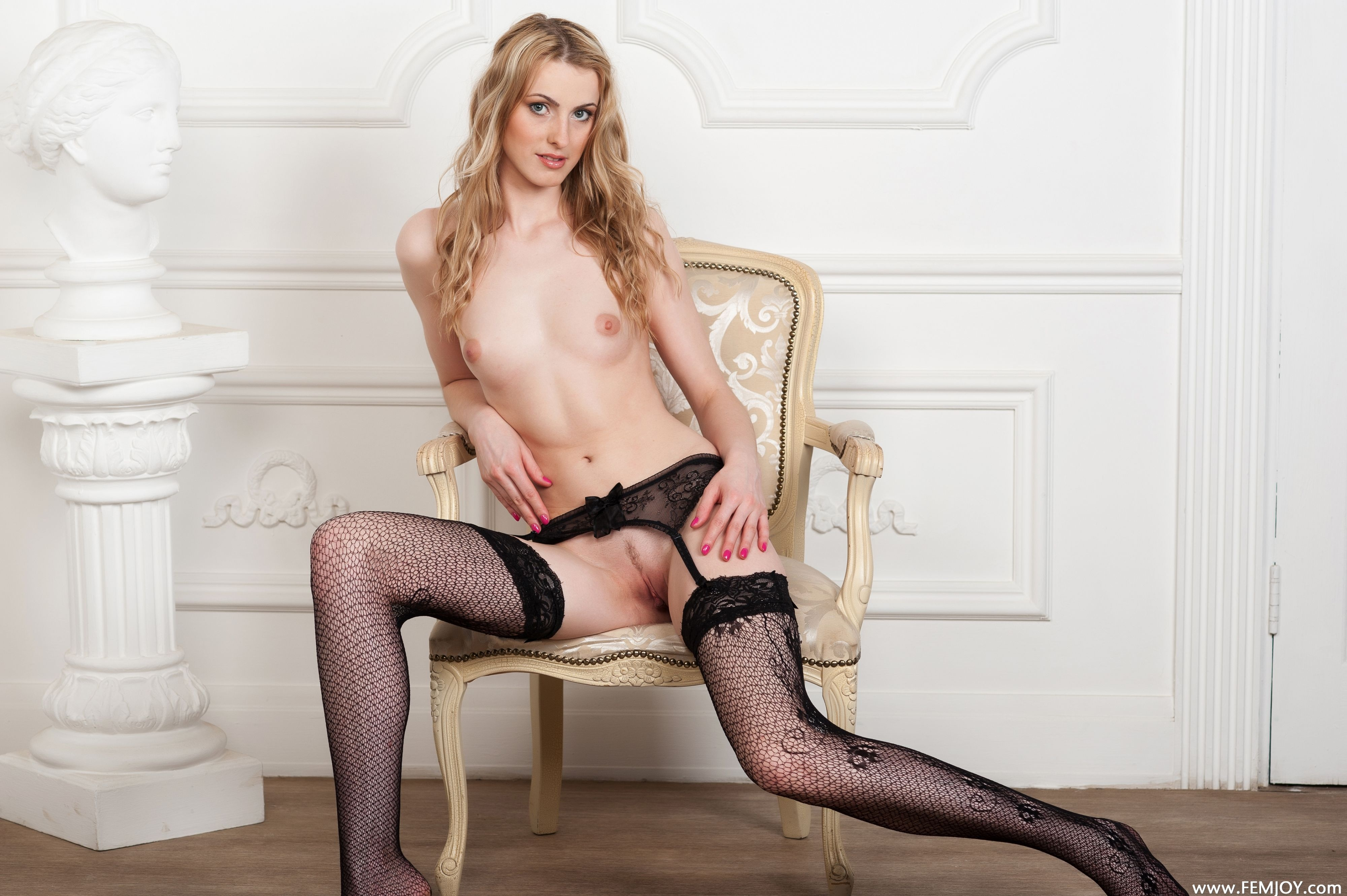 Small tit blonde black panties the