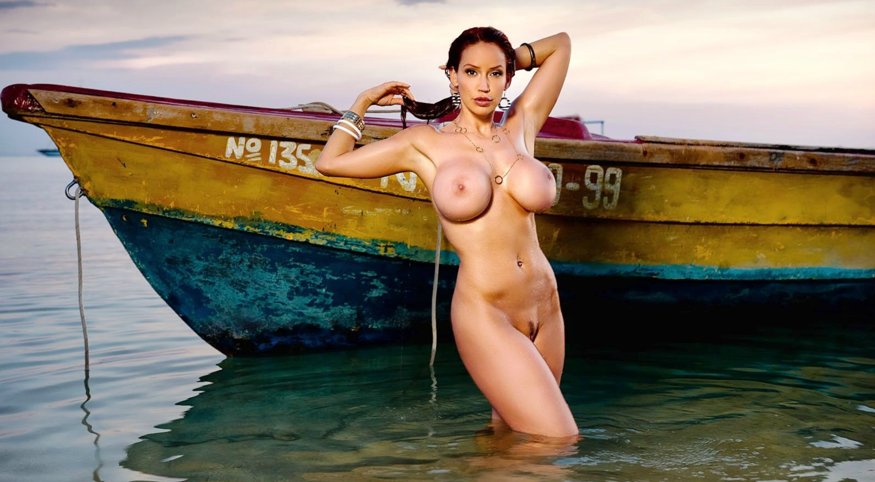 wallpaper bianca beauchamp, water, nude, boat, wet, tits, pussy