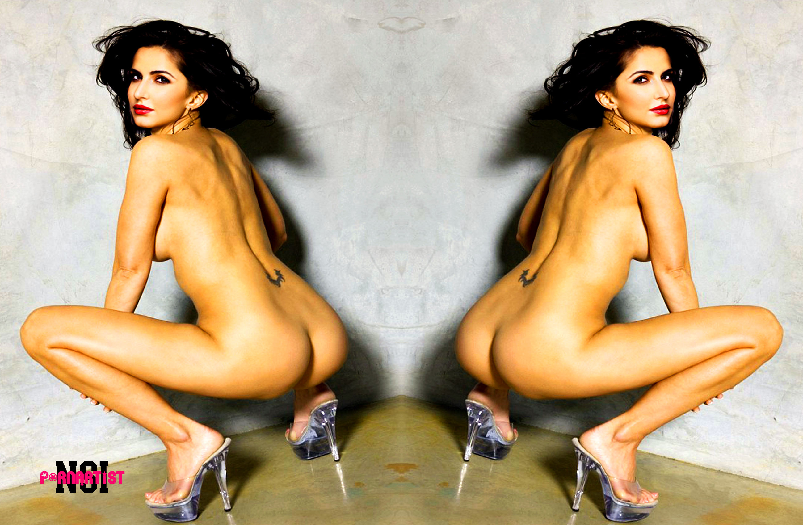 Naked woman on stairs