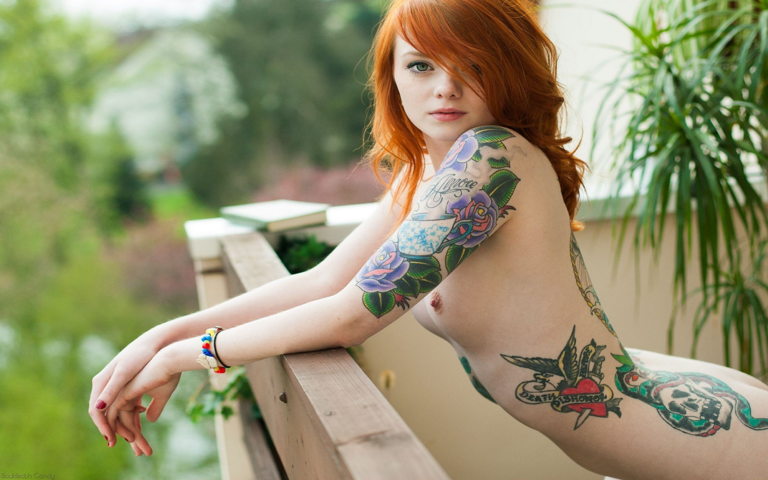 Wallpaper Candy, Red Head, Goth, Teen, Cute, Tats, Tattoo, Suicide Girls, Lass, Young -1344
