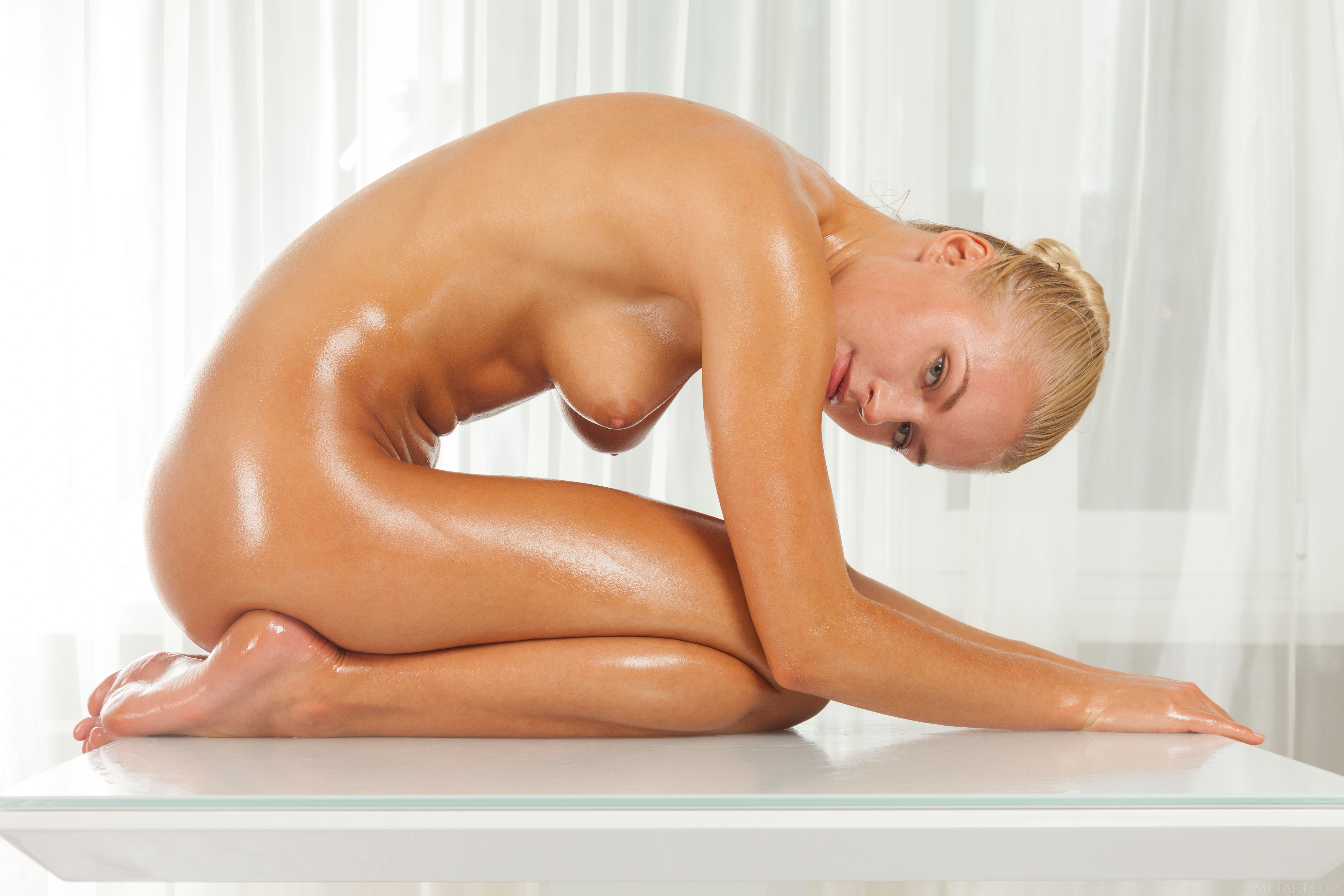 Naked and oily