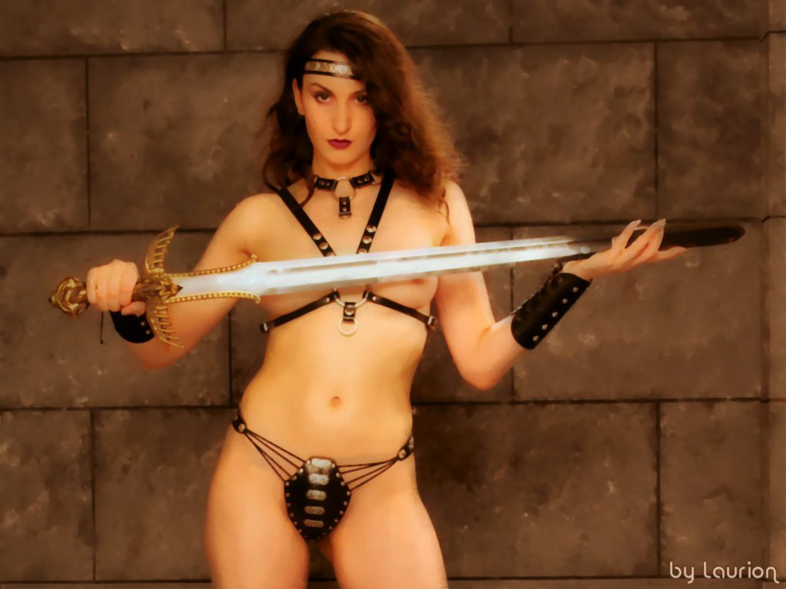 Swords nude fantasy women with
